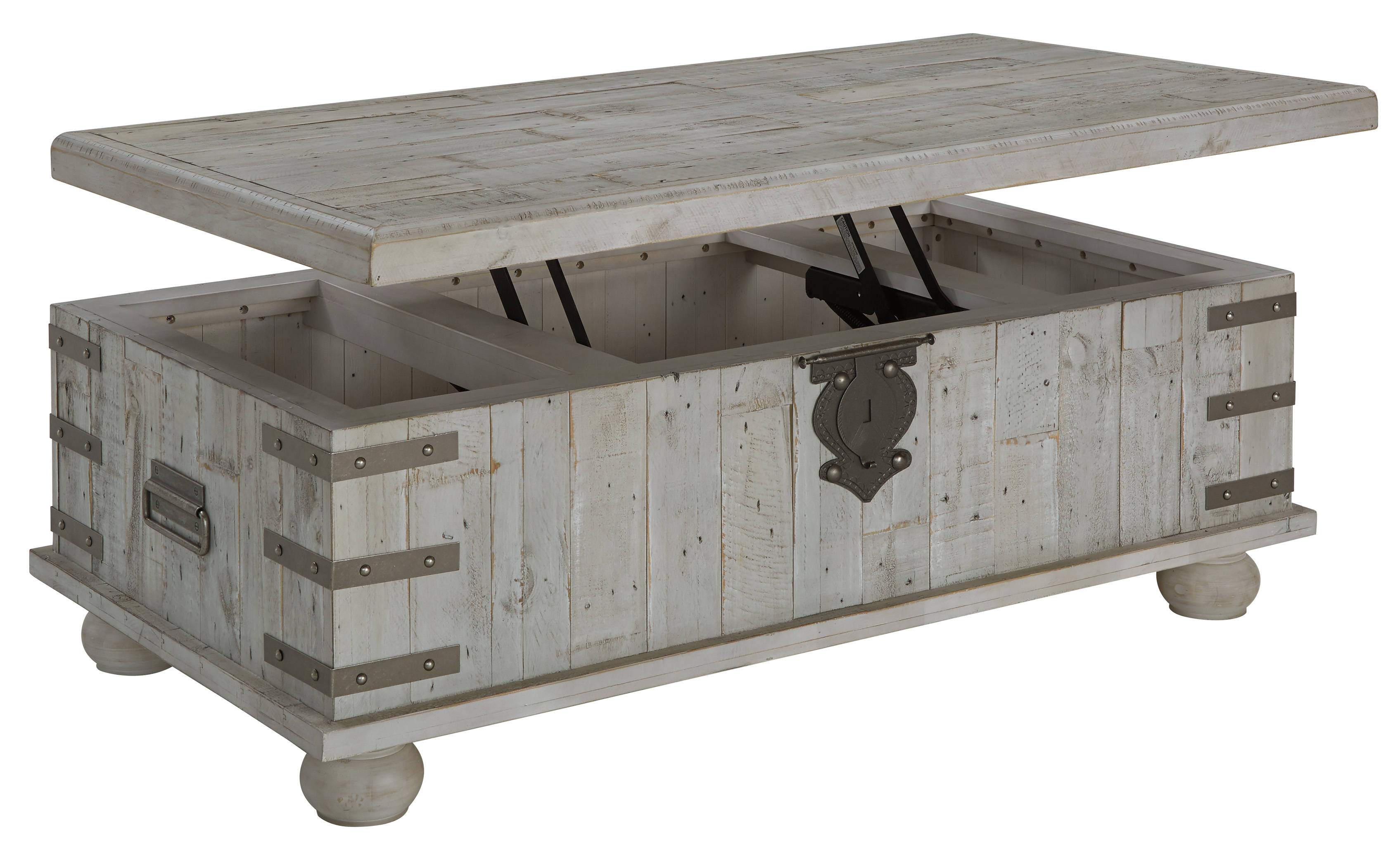 Ashley Furniture Carynhurst White Wash Gray Lift Top Cocktail