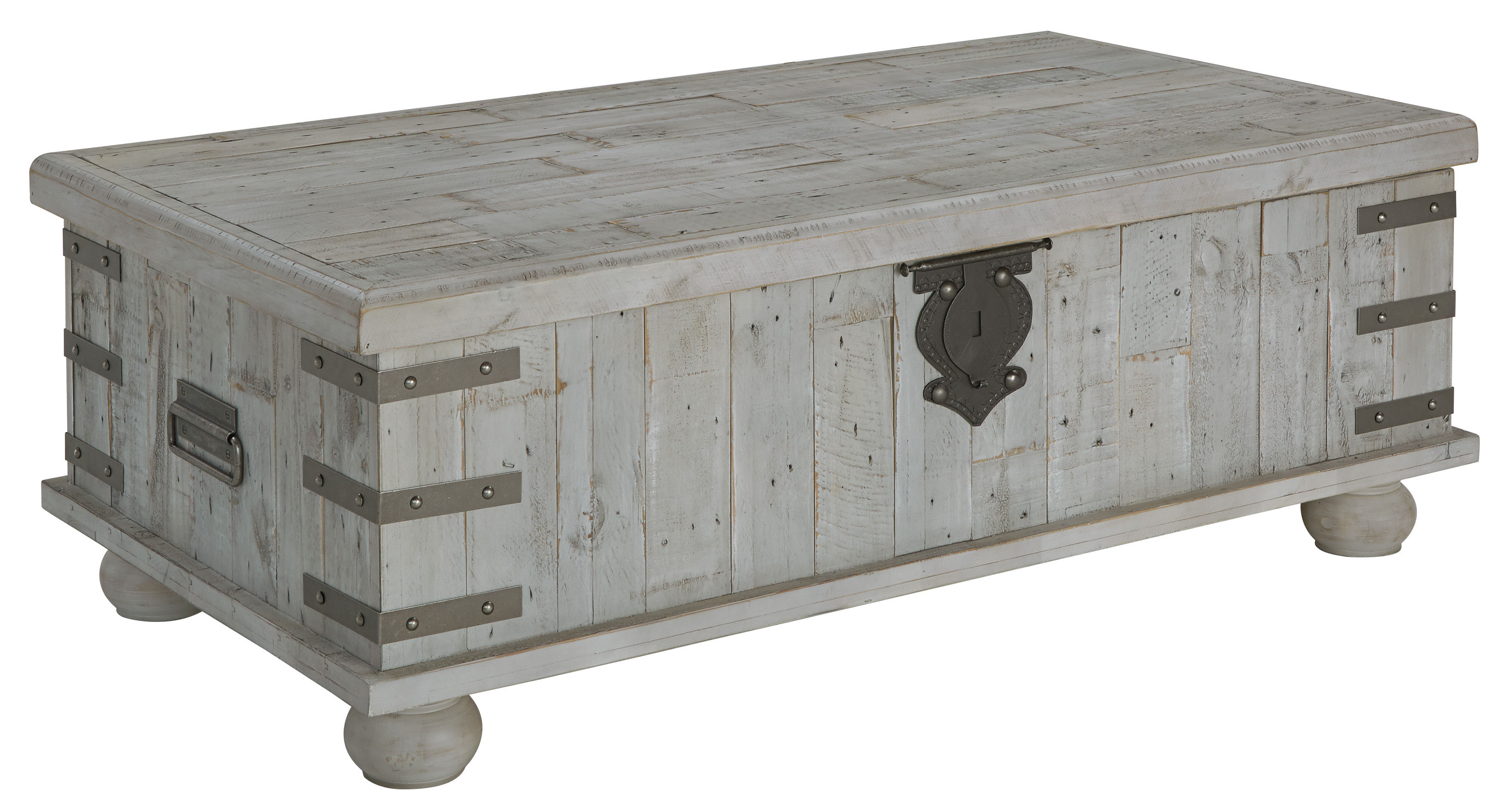 Ashley Furniture Carynhurst White Wash Gray Lift Top Tail Table