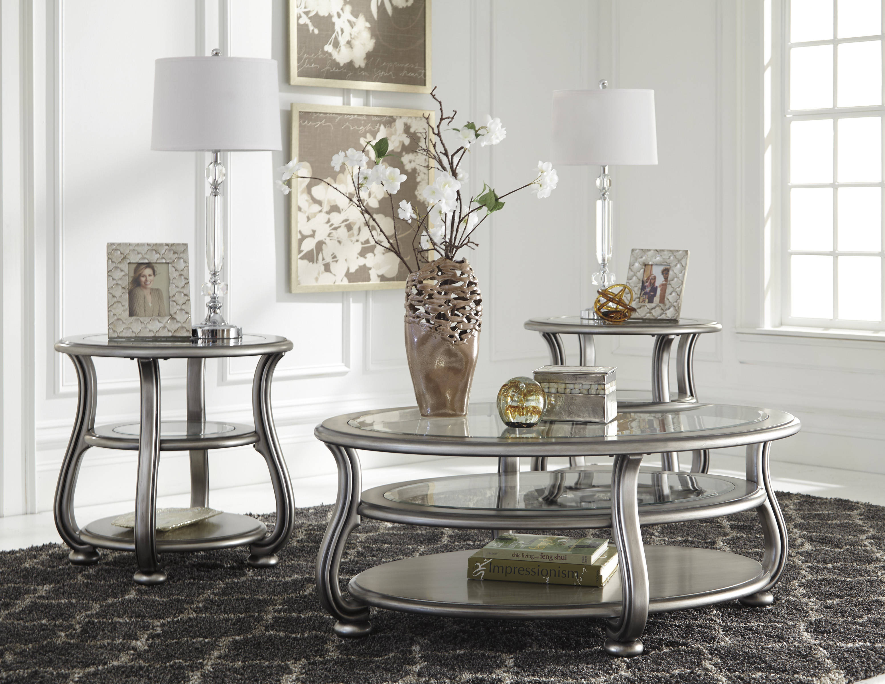 Coralayne Silver Metal Glass 3pc Rectangle Round Coffee Table Set Click To Love Itclick To Enlarge