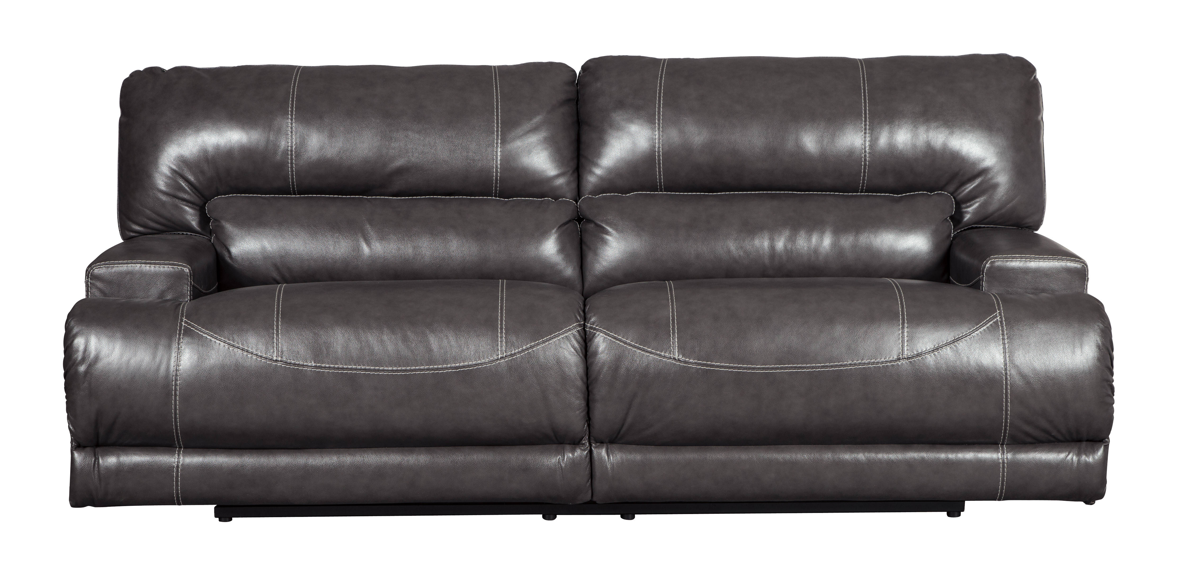 McCaskill Contemporary Gray Leather 2 Seat Reclining Sofa