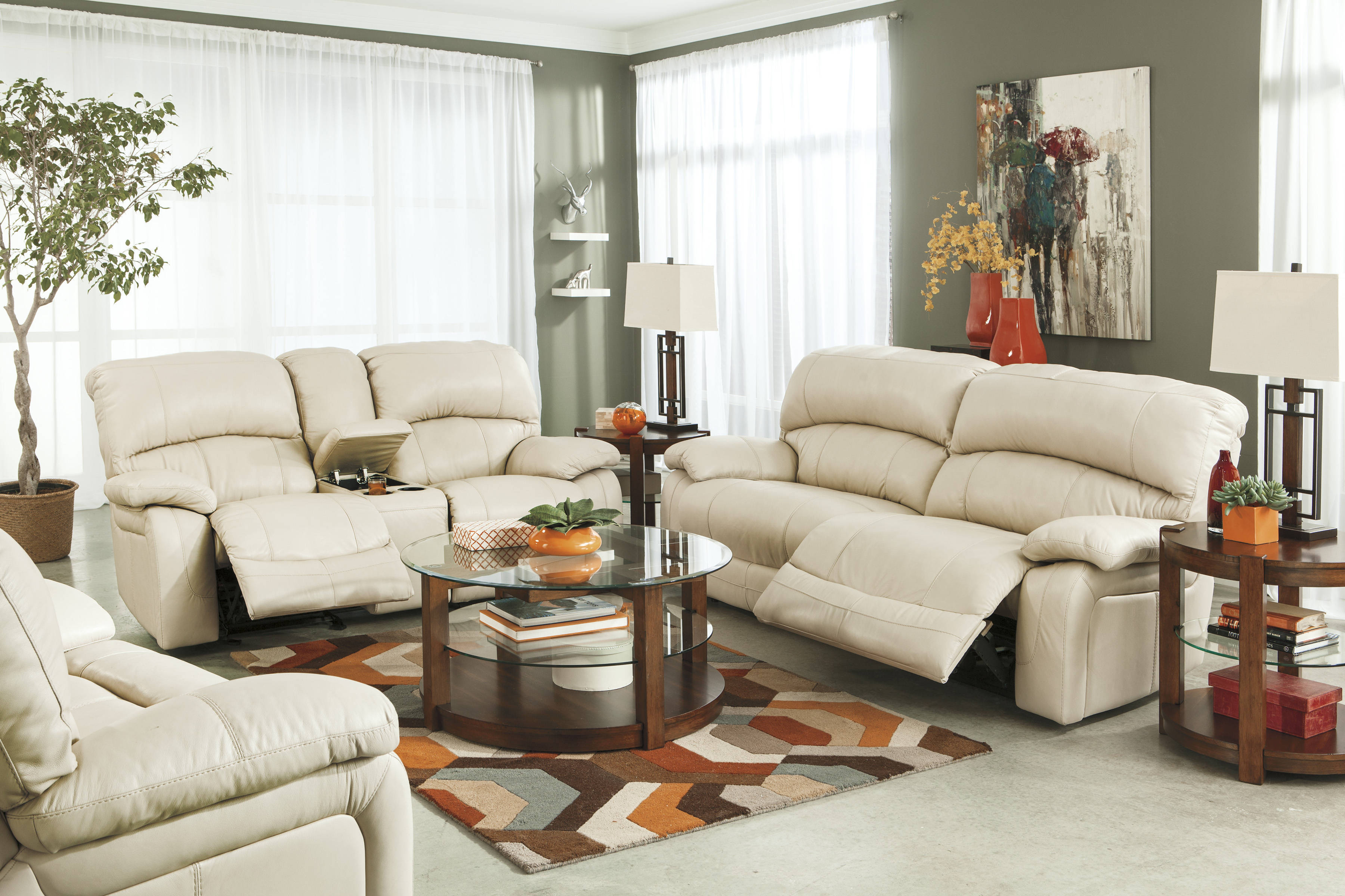 cream leather living room chairs damacio cream leather 3pc living room set w recliner the 13608 | ASH U98201 47 43 82 T541