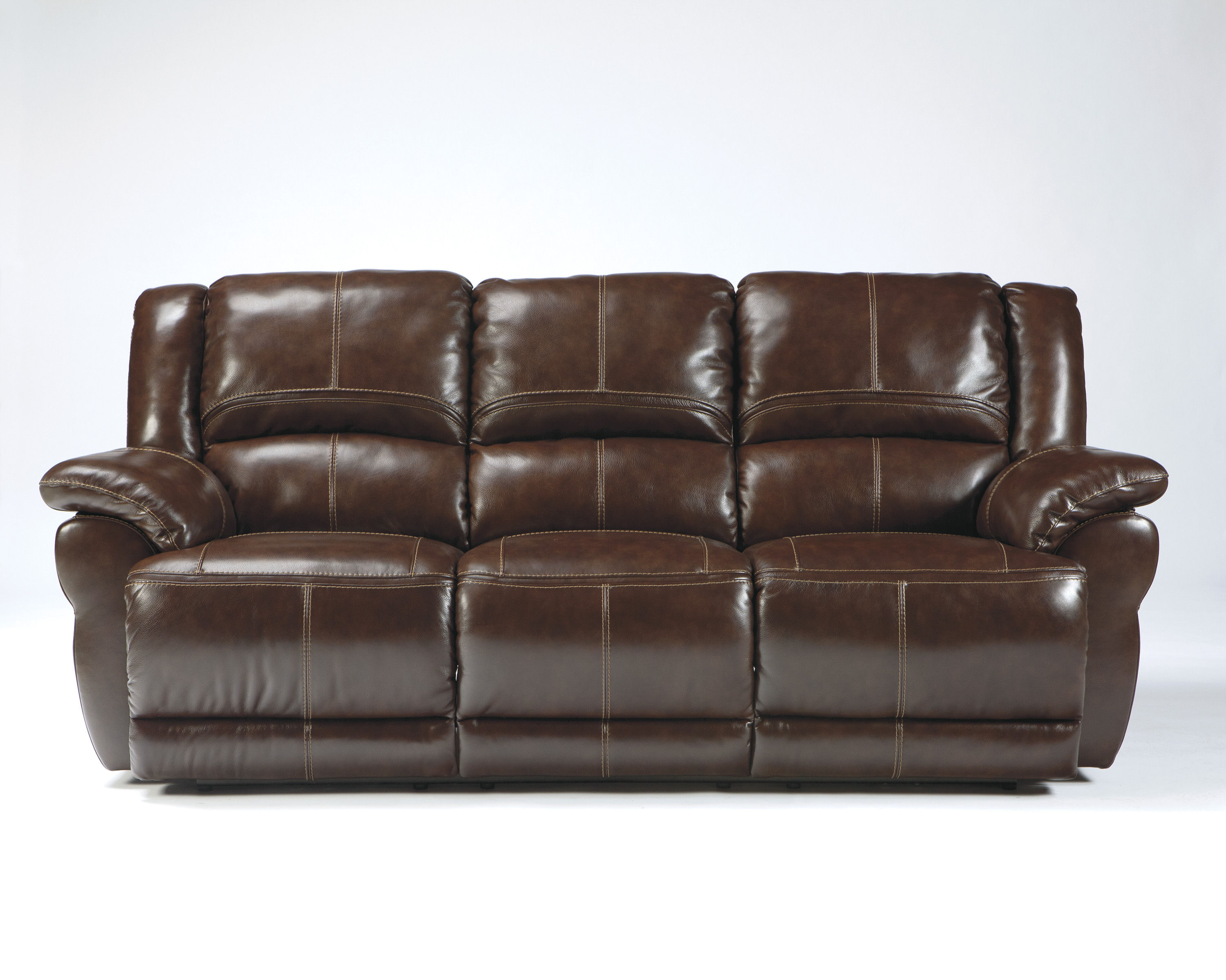 Lenoris Coffee Leather Reclining Power Sofa Living Rooms