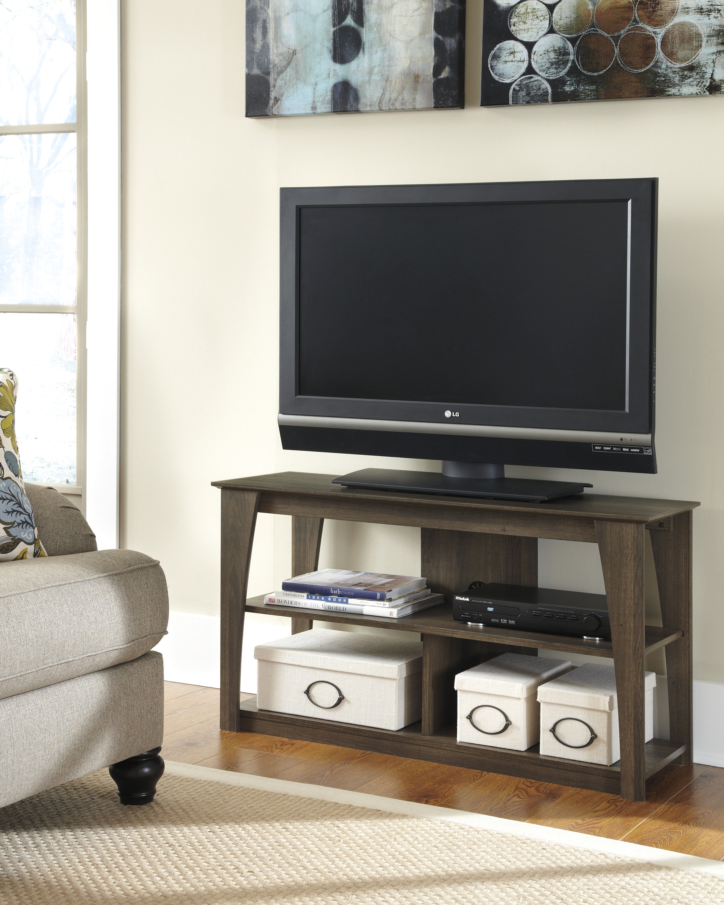Ashley Furniture Frantin Brown Wood Tv Stand The Classy Home