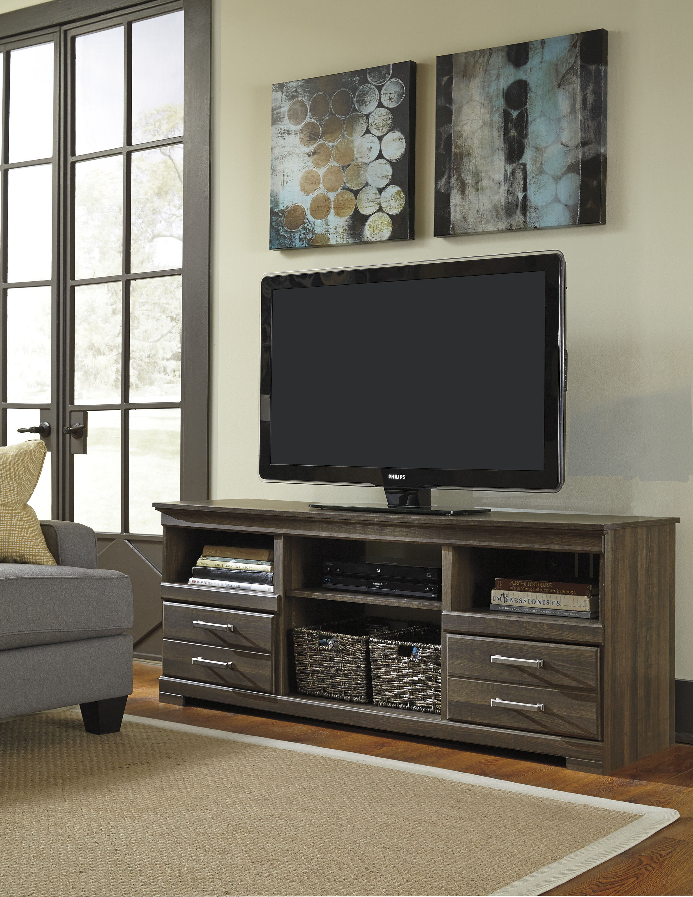 Ashley Furniture Frantin Brown Lg Tv Stand With Fireplace Option