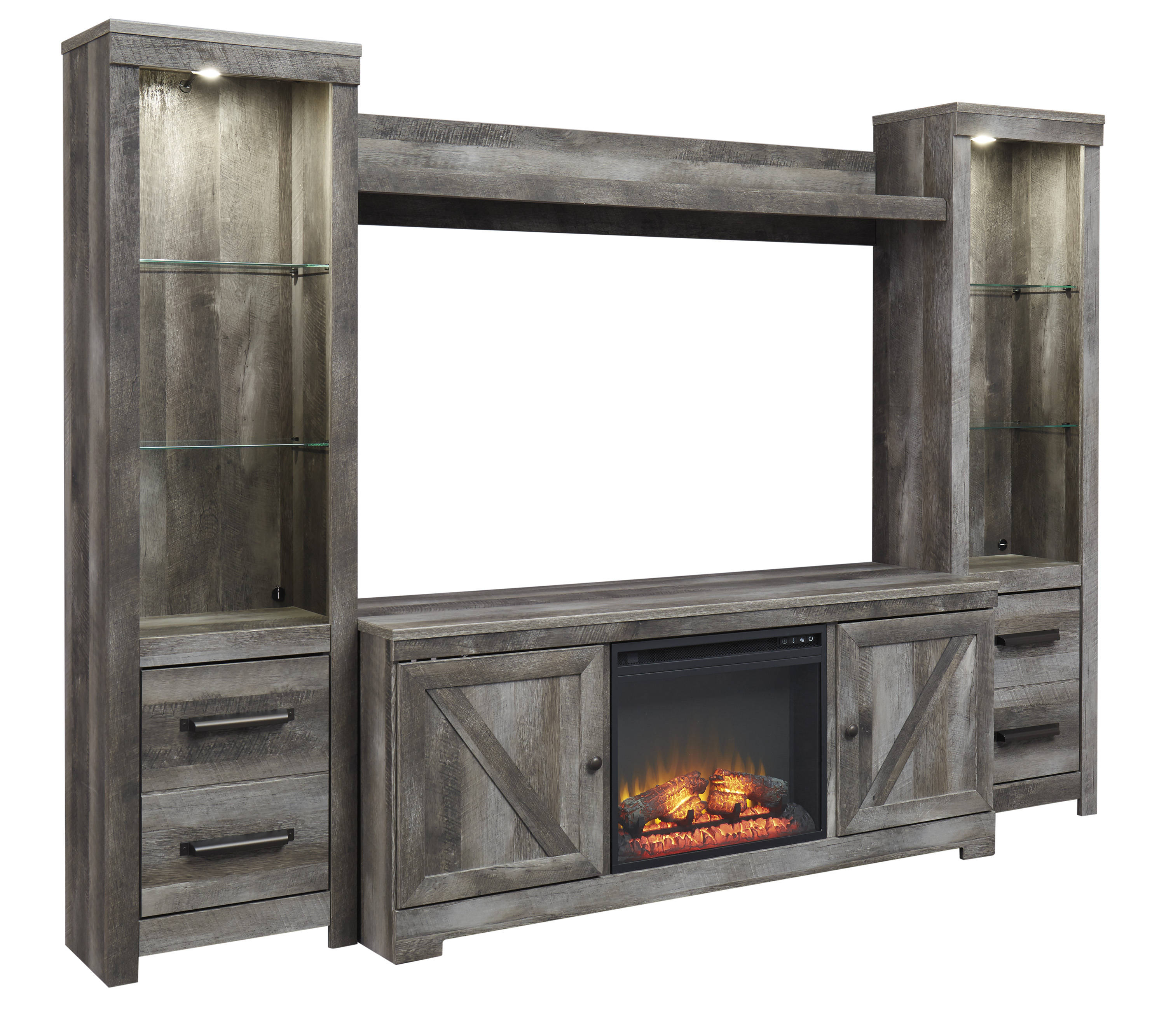 Incredible Ashley Furniture Wynnlow Gray Entertainment Center With Fireplace Insert Home Interior And Landscaping Eliaenasavecom