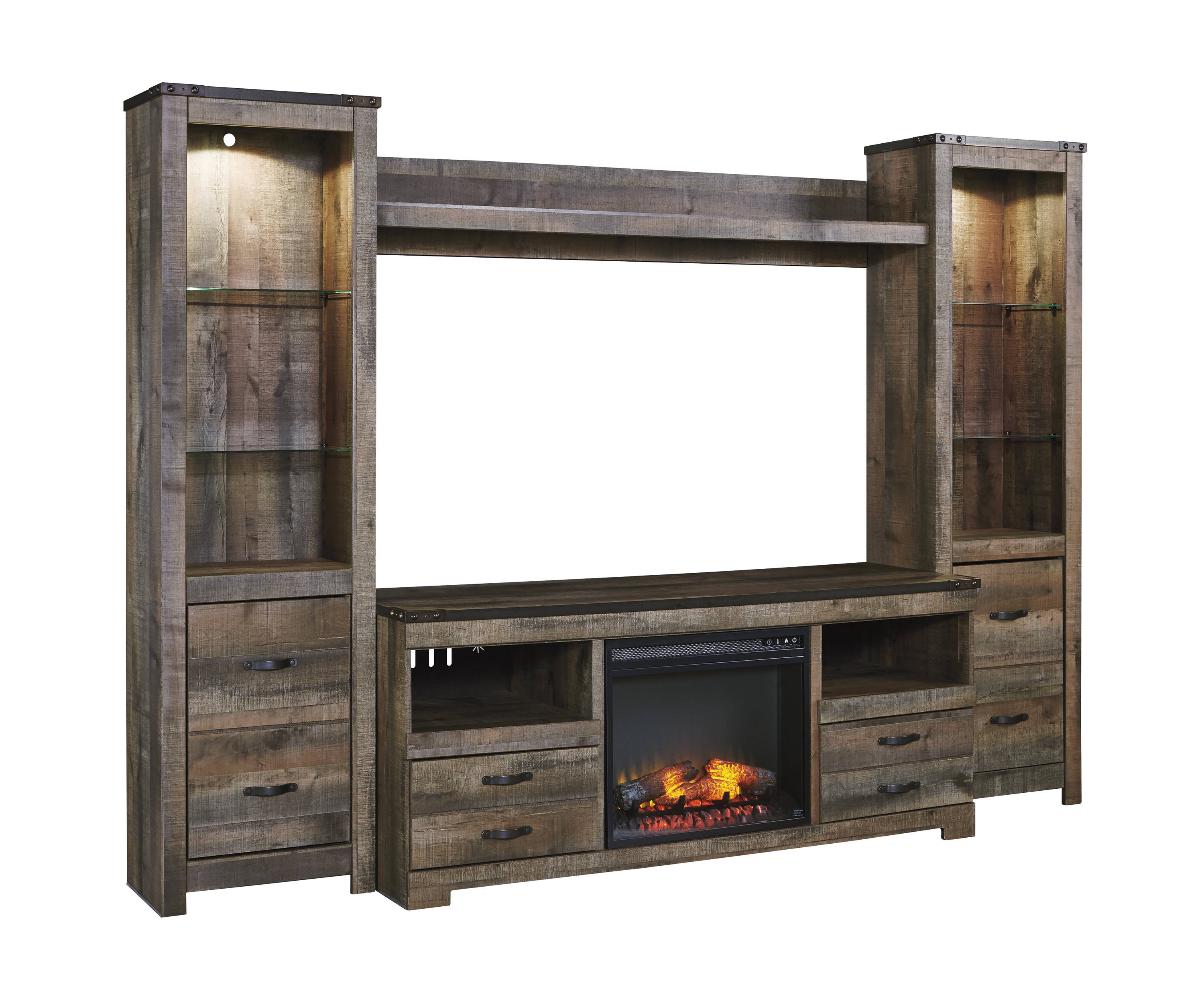 Ashley Furniture Trinell Entertainment Unit With Fireplace The Classy Home
