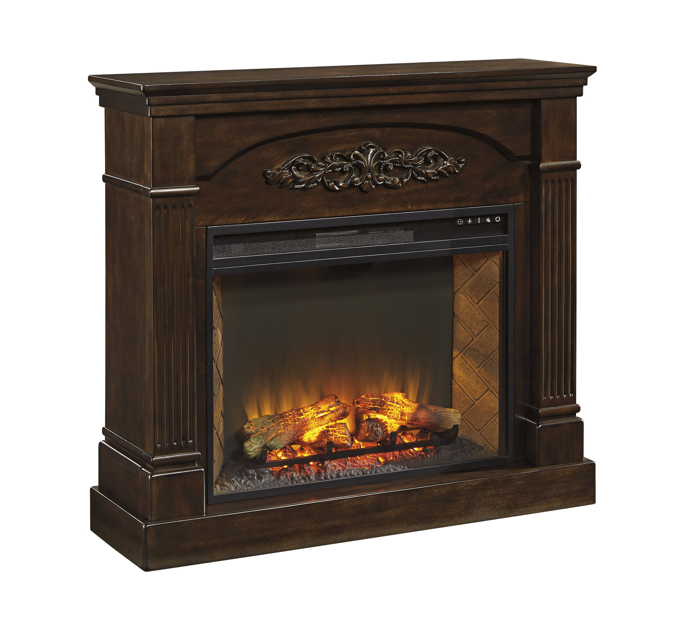Brown Fireplace Mantel : Boddew traditional classics dark brown wood fireplace