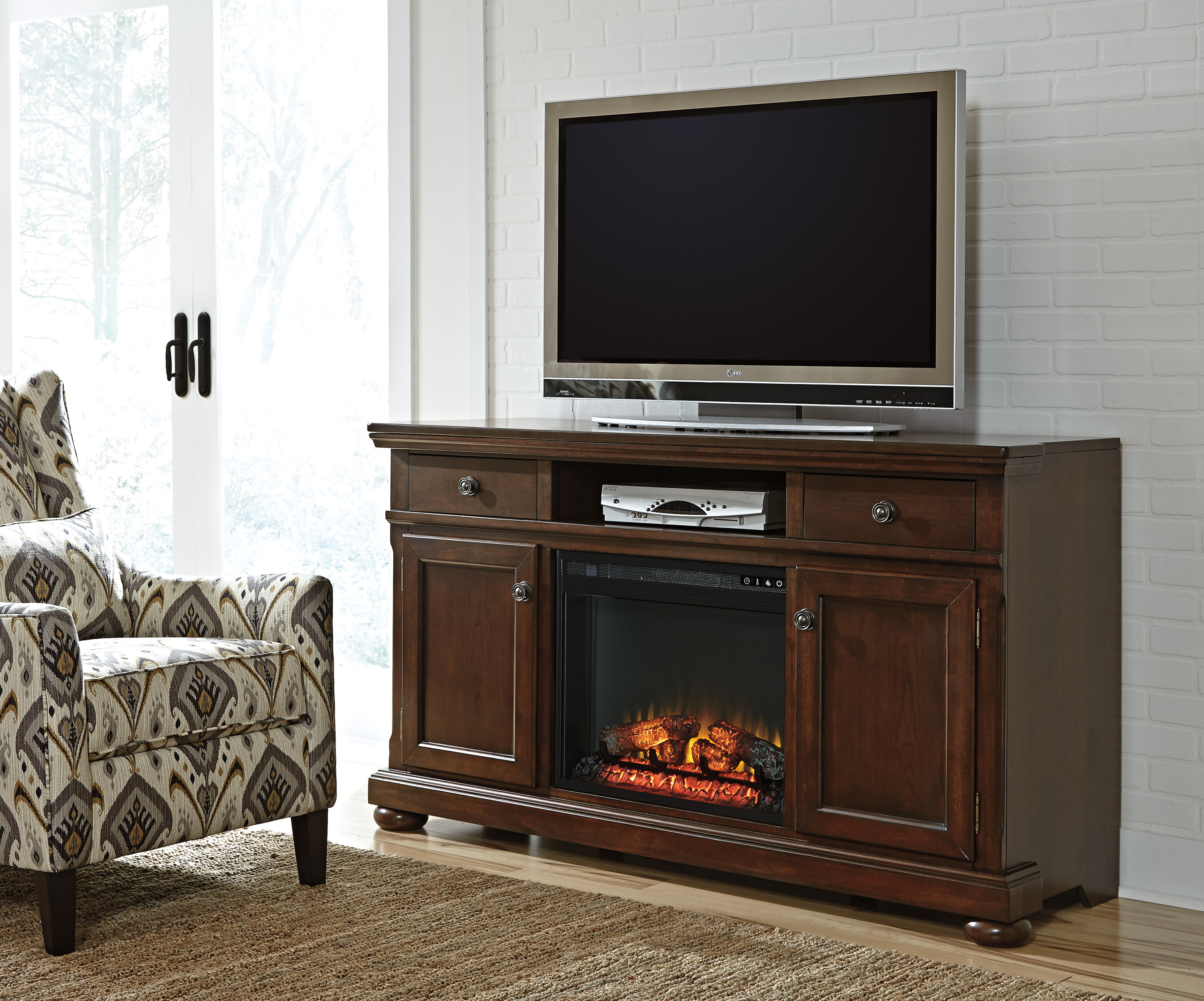 Ashley Furniture Porter Brown XL TV Stand With Fireplace The