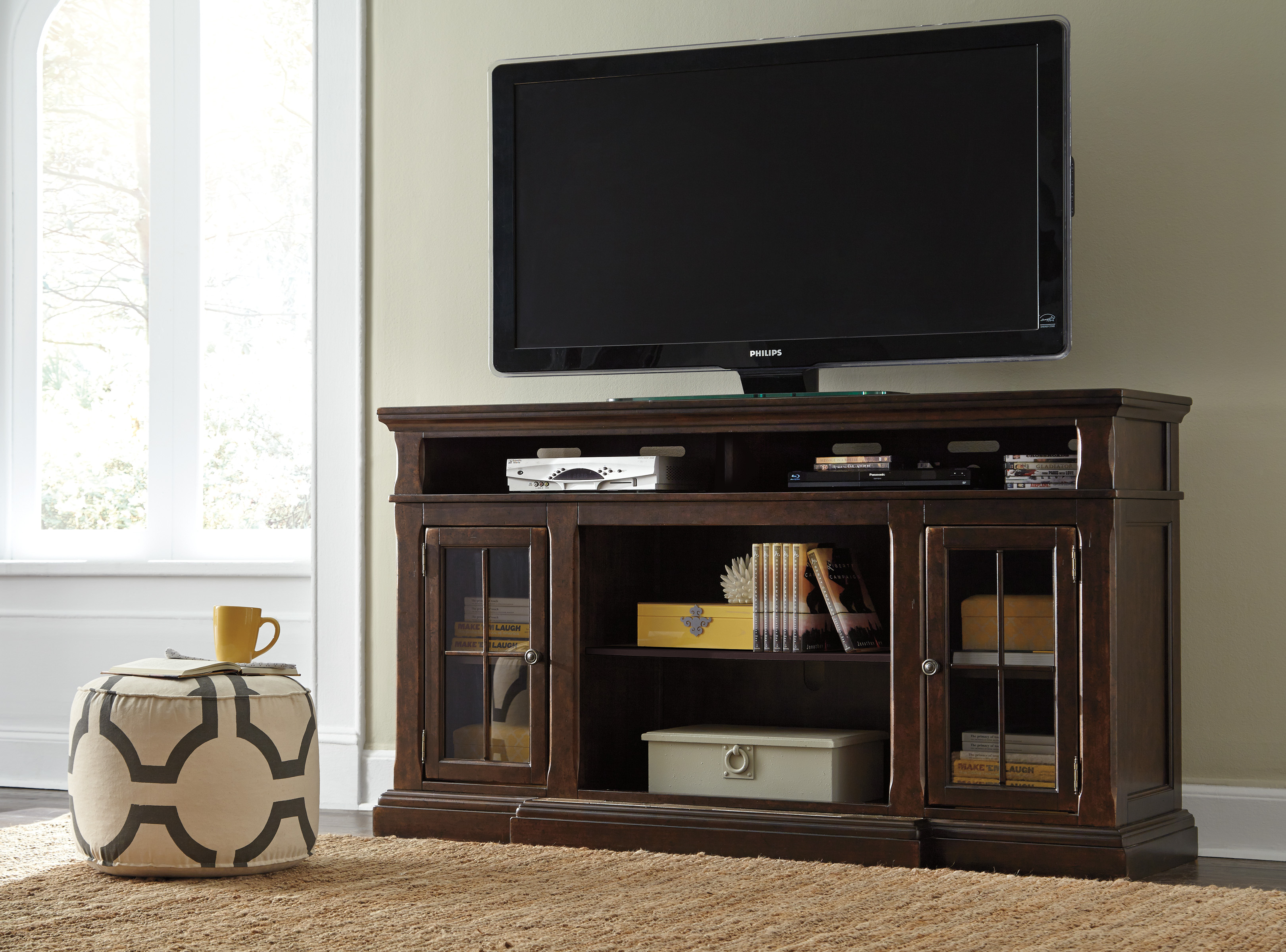Ashley Furniture Roddinton Xl Tv Stand With Option Fireplace Click To Enlarge