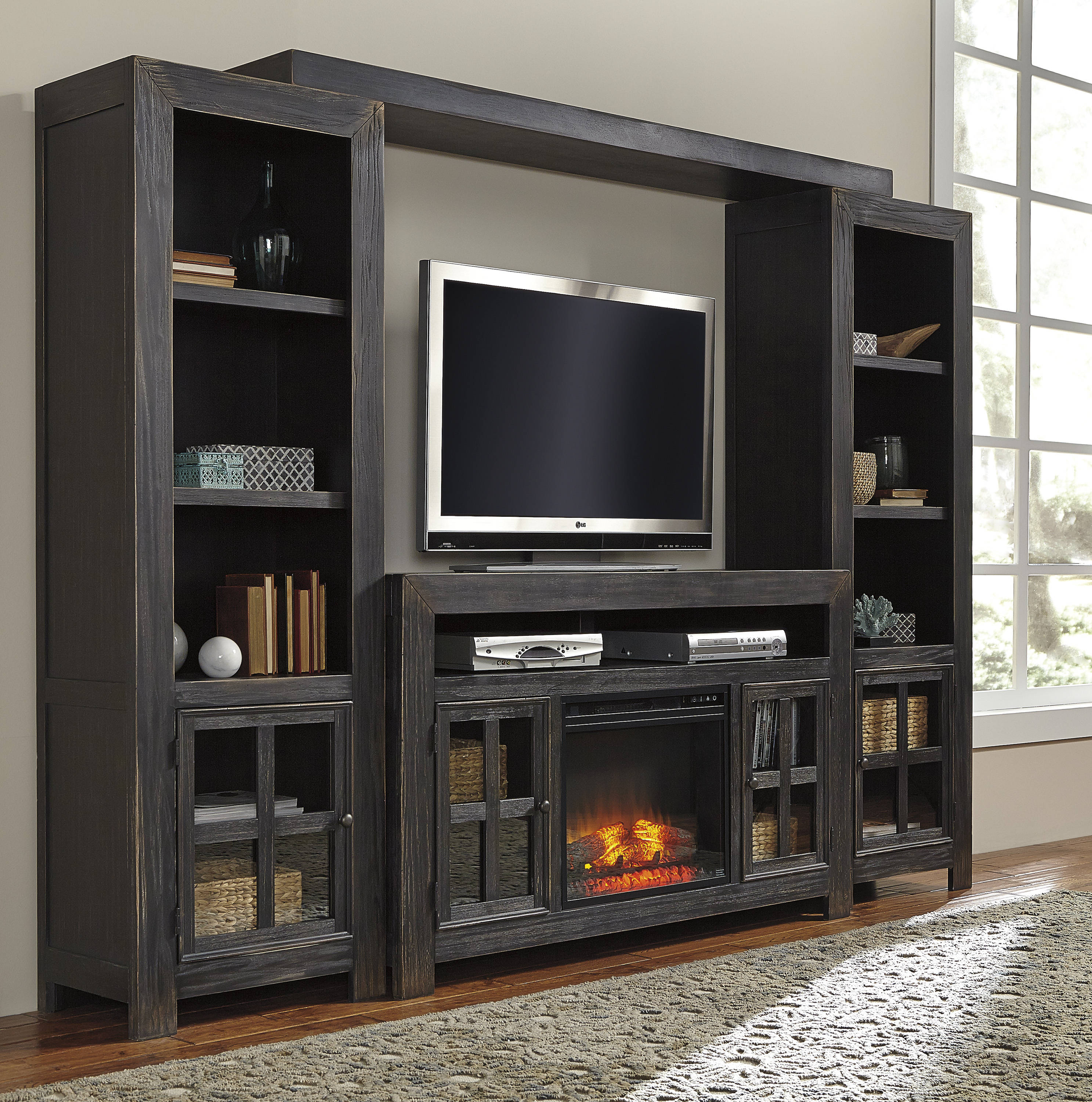 Ashley Furniture Gavelston Black Entertainment Center With