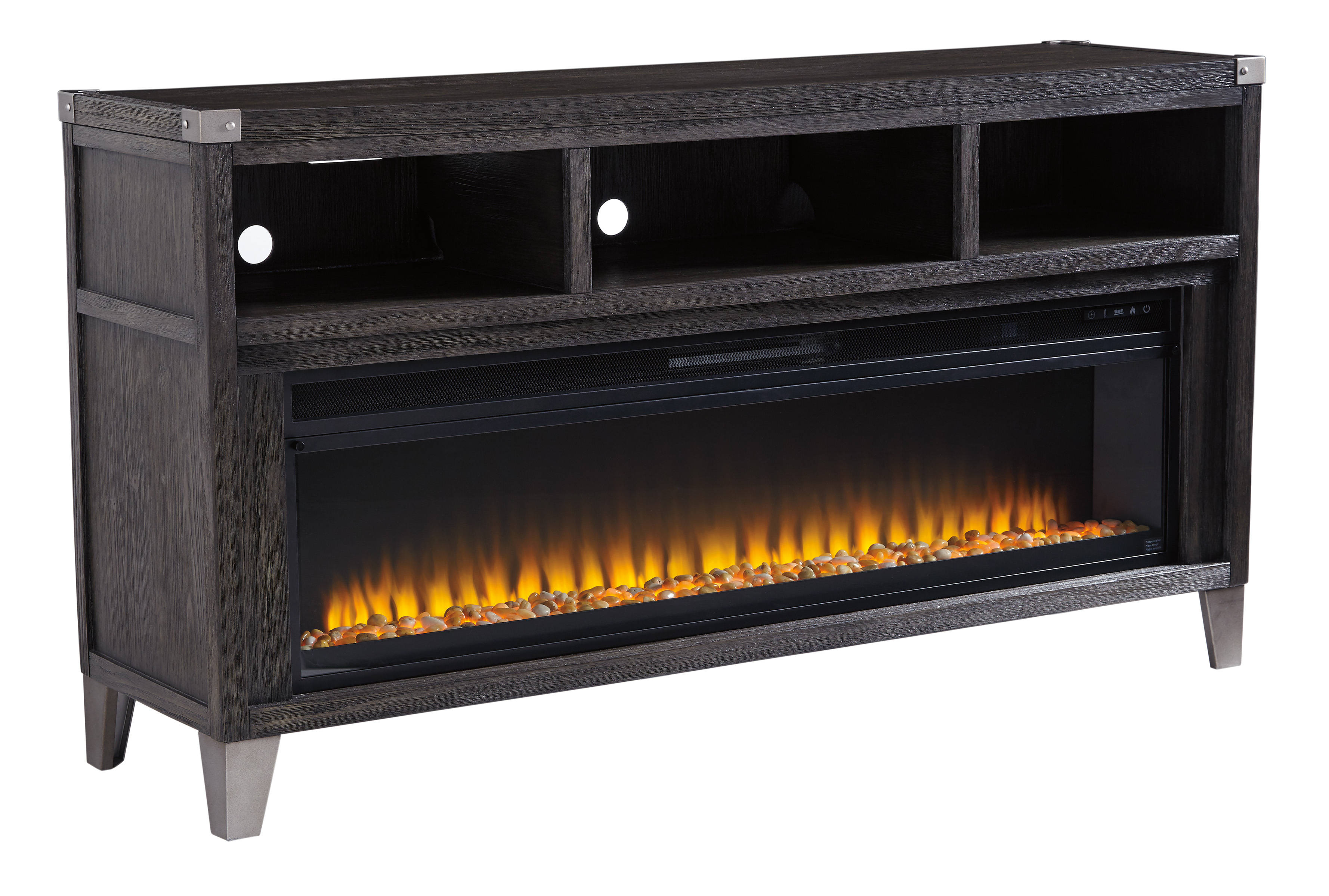 Ashley Furniture Todoe Gray Tv Stand With Fireplace Insert