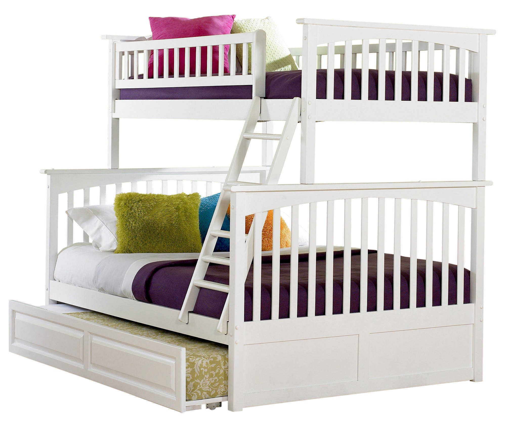 Atlantic Furniture Columbia White Twin Over Full Bunk Bed With Raised Panel Trundle