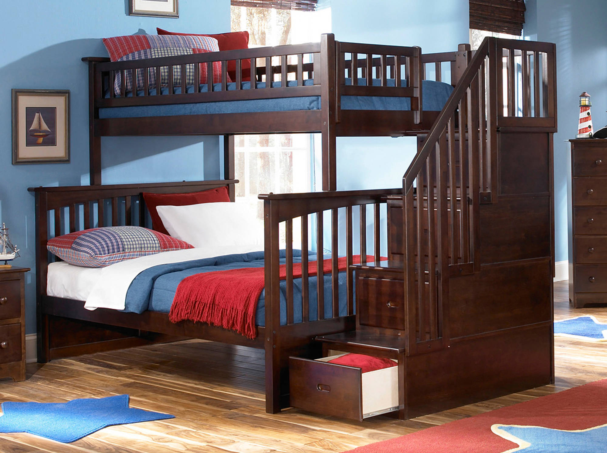 Atlantic Furniture Columbia Walnut Staircase Twin Over Full Bunk Bed