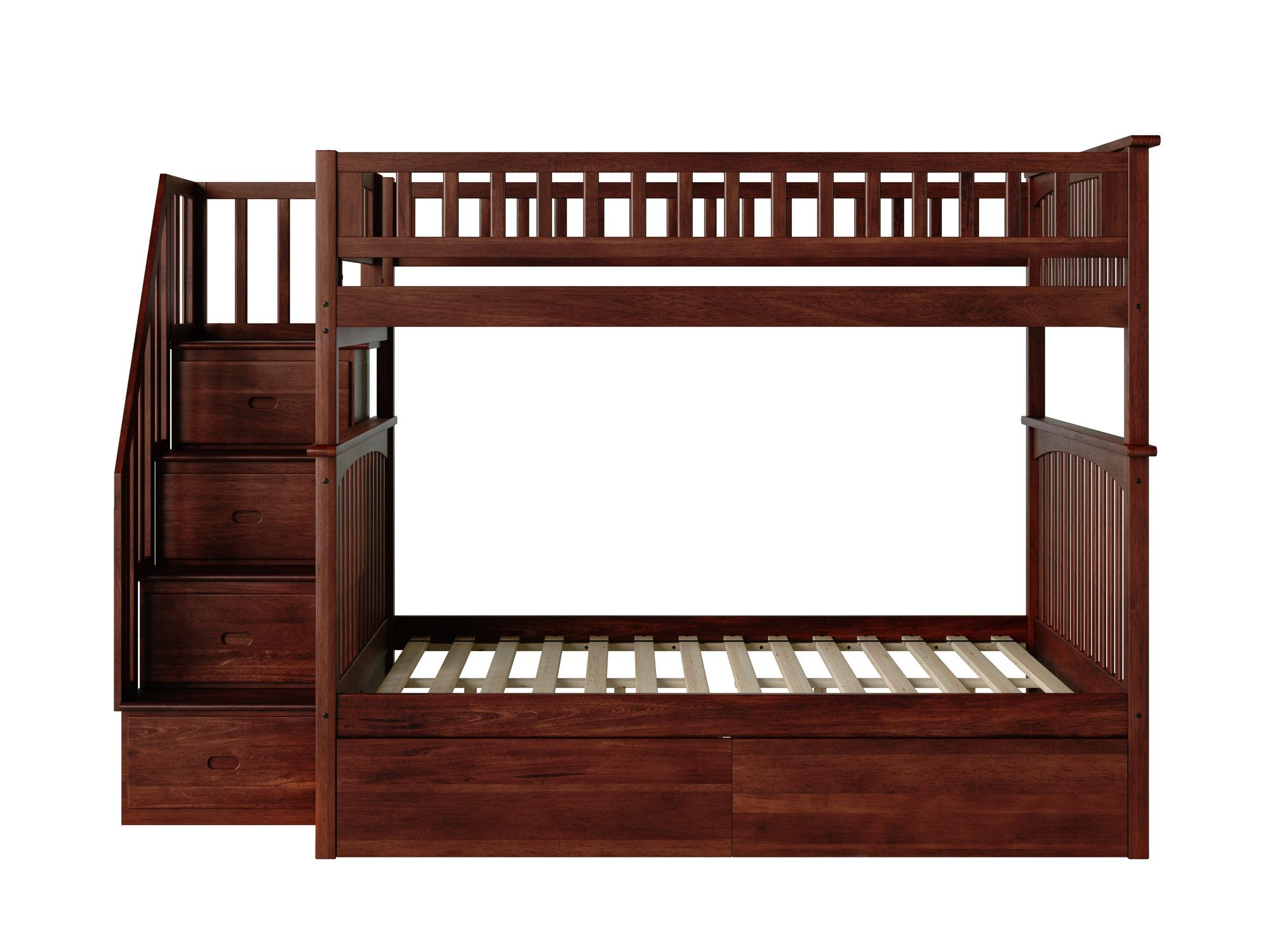 Atlantic Furniture Columbia Walnut Staircase Full Over Full Bunk Bed