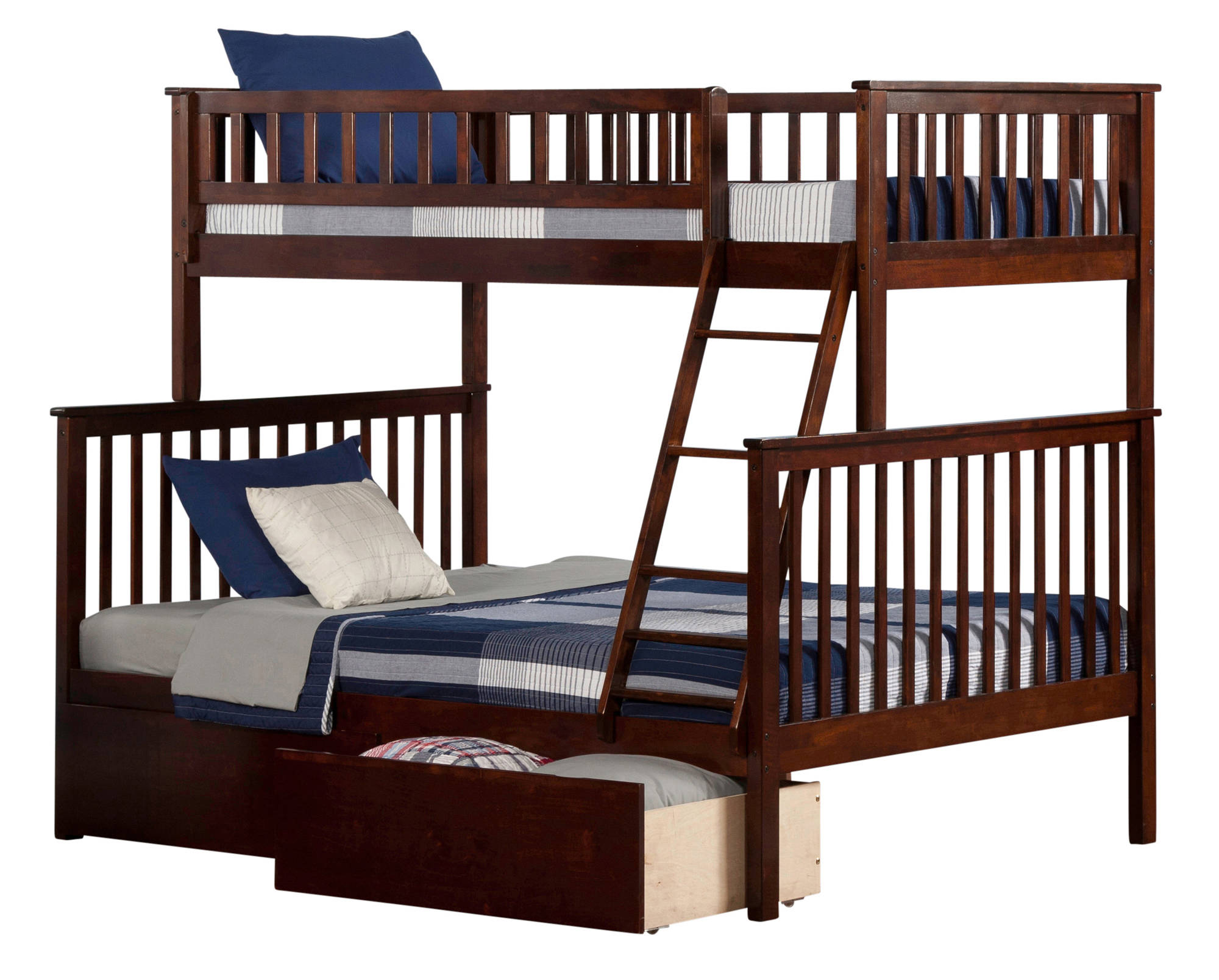 Atlantic furniture woodland walnut twin over full urban for Urban home beds
