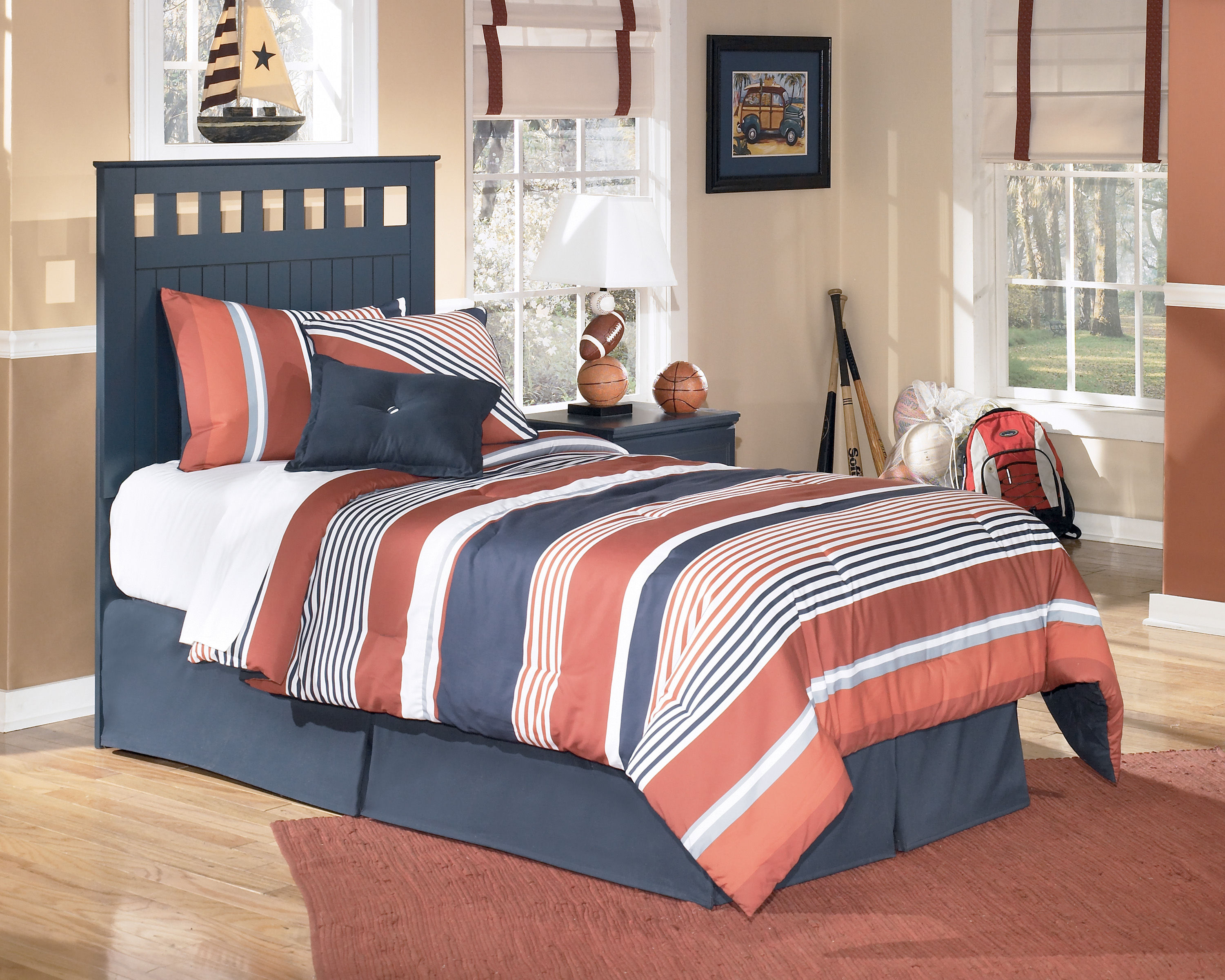 Ashley Furniture Leo Blue Twin Headboard With Bed Frame The Classy