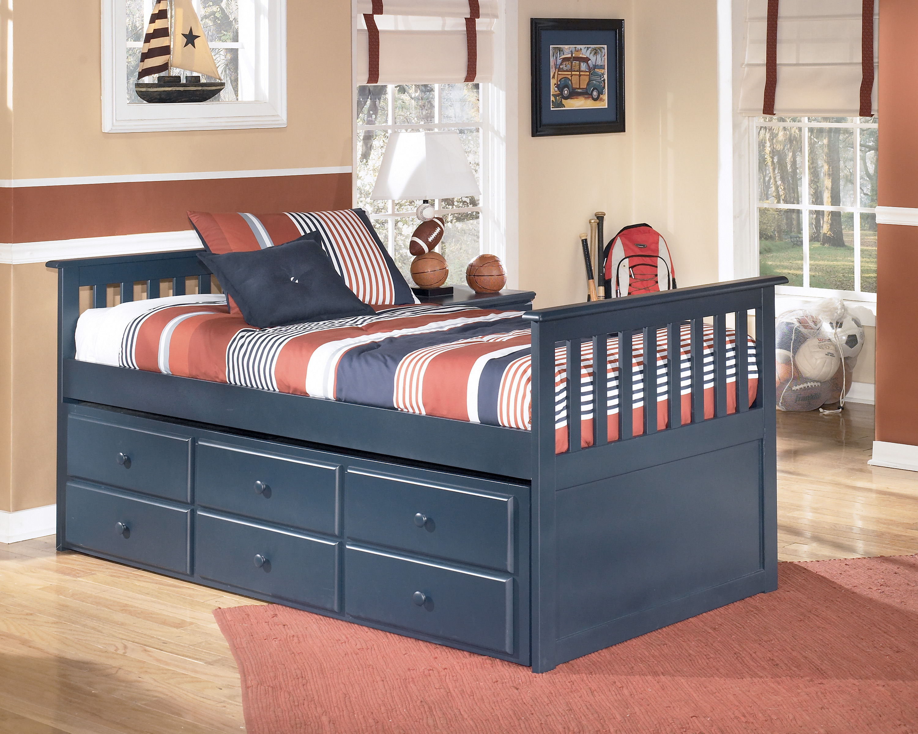 Ashley Furniture Leo Blue Leo Twin Bed With Trundle And