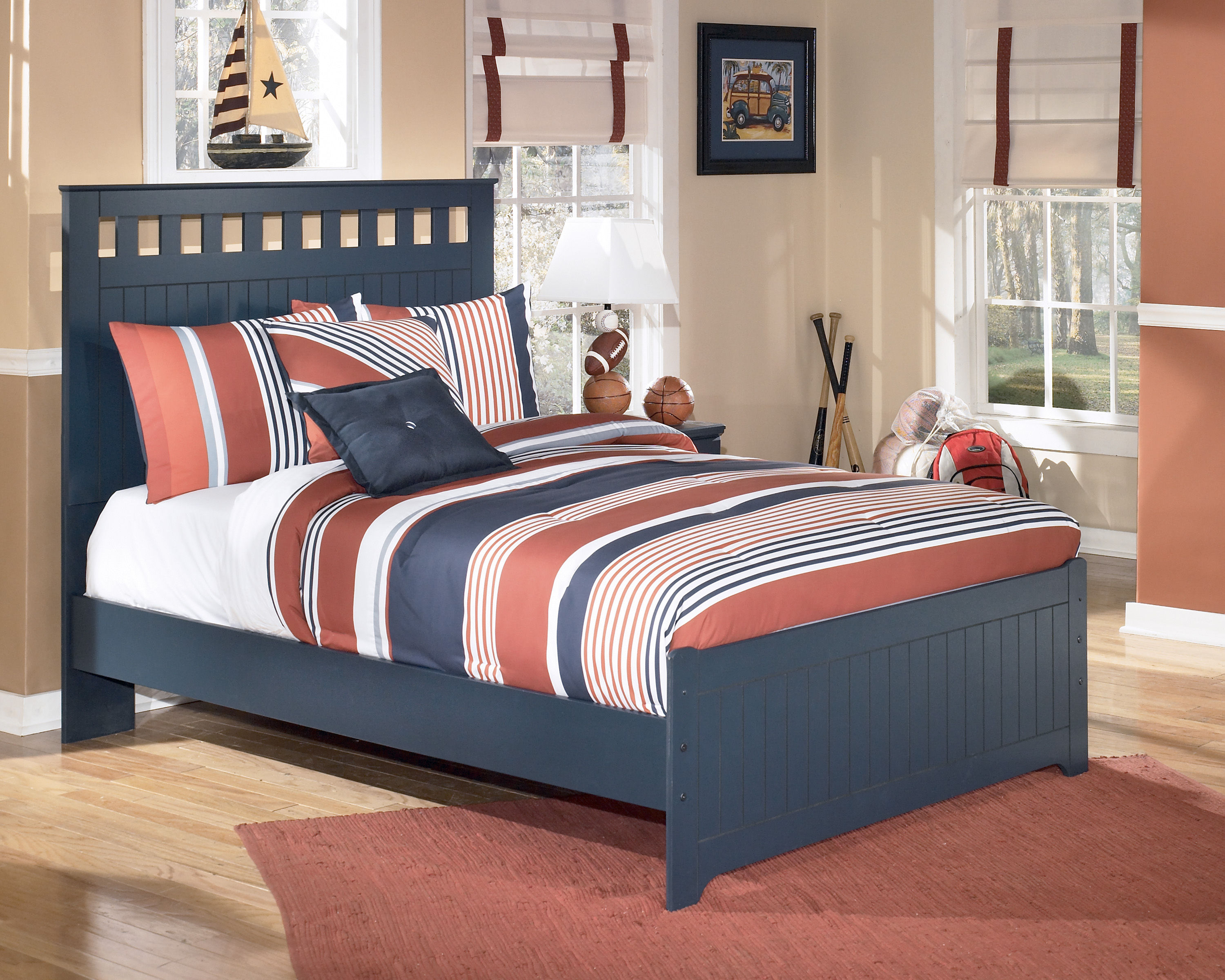 Ashley Furniture Leo Blue Full Panel Bed The Classy Home