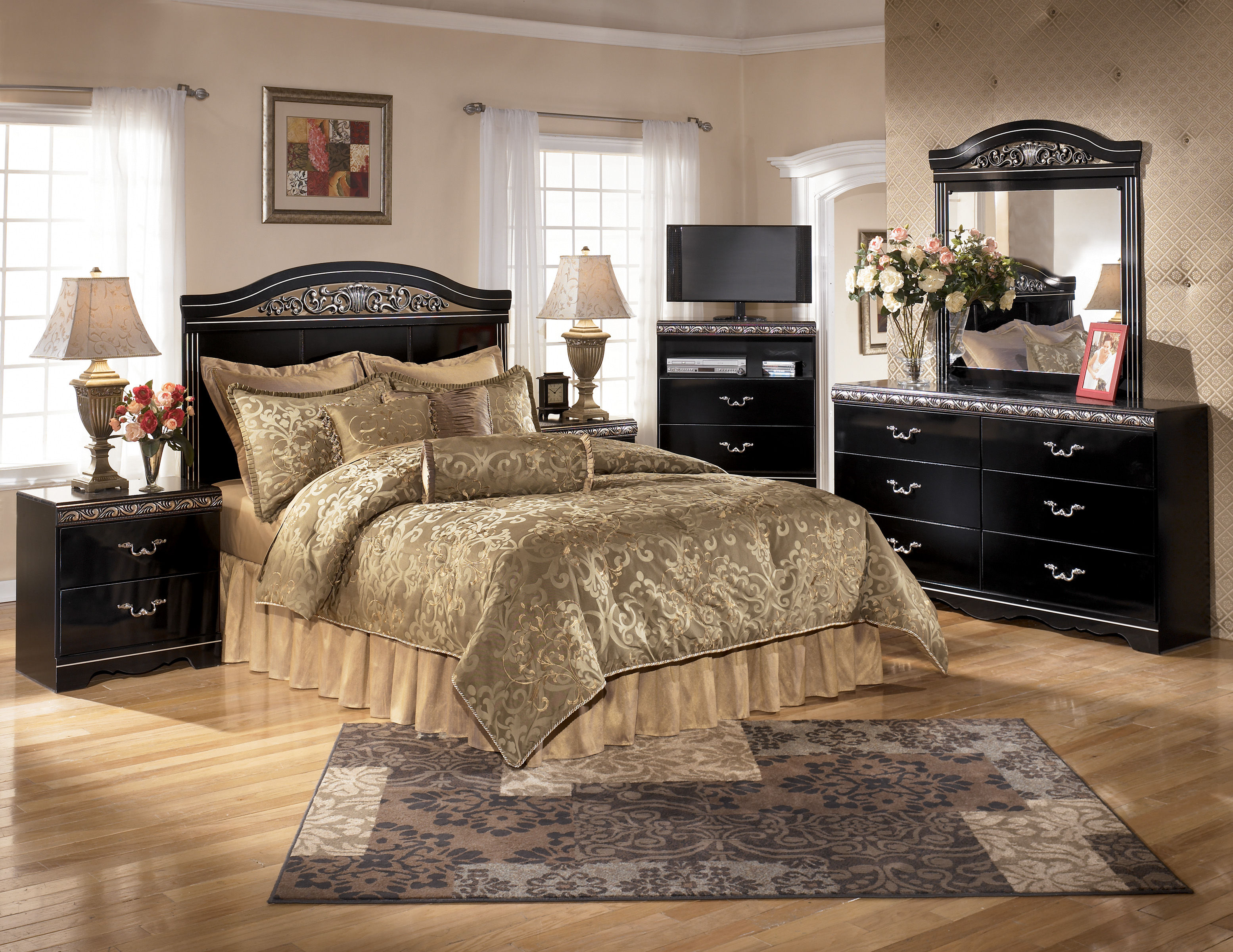 Ashley furniture constellations black 2pc bedroom set with queen full headboard the classy home for Ashley furniture black bedroom set