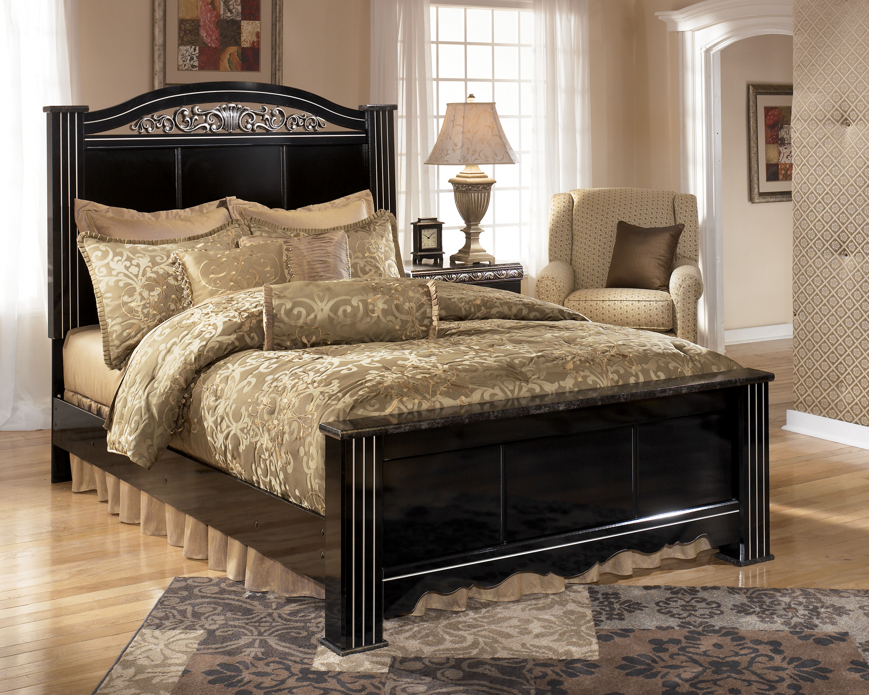 Ashley furniture constellations black king poster bed - Discontinued ashley bedroom furniture ...