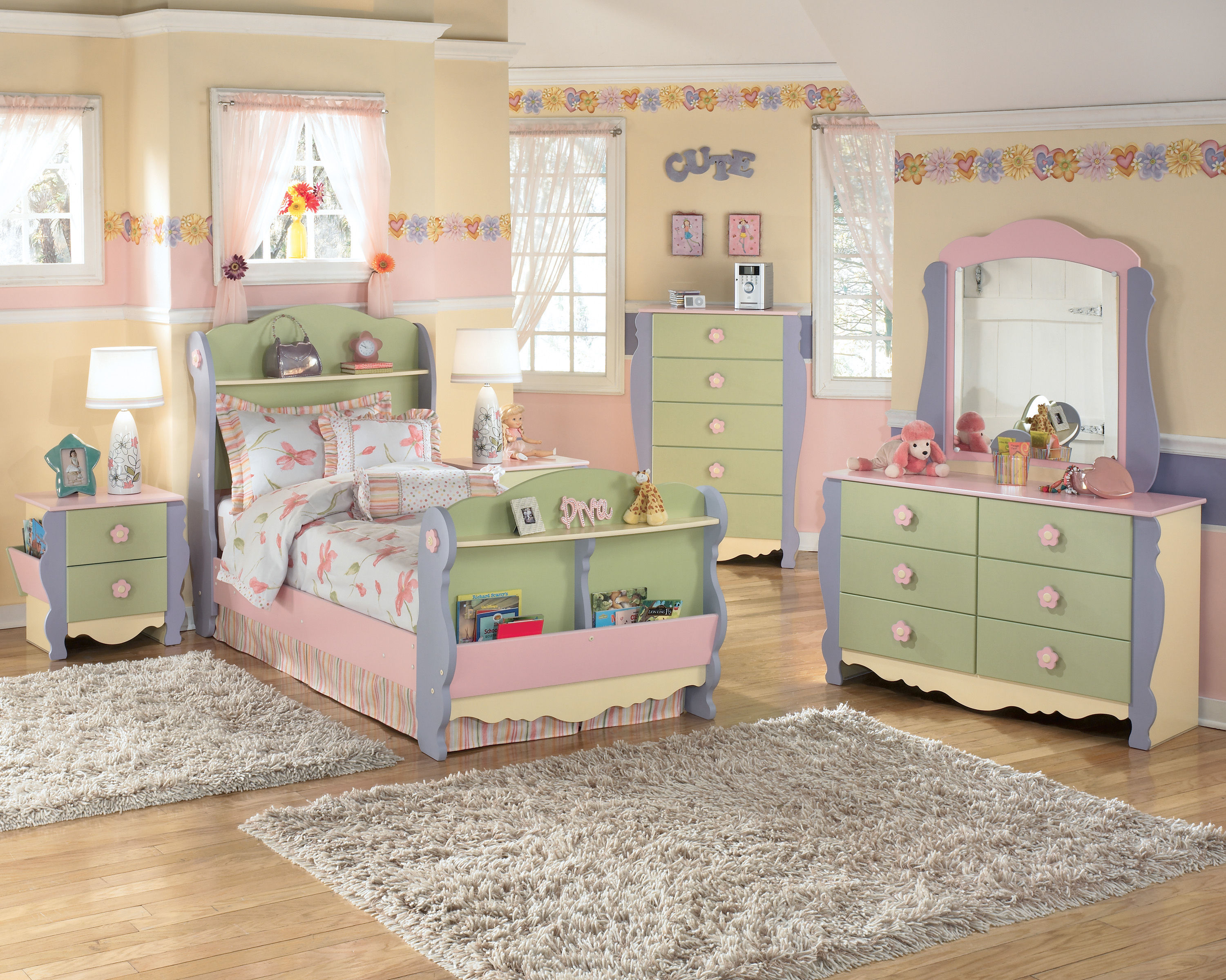 Doll house youth green yellow wood kids bedroom set kids for Good deals on bedroom sets