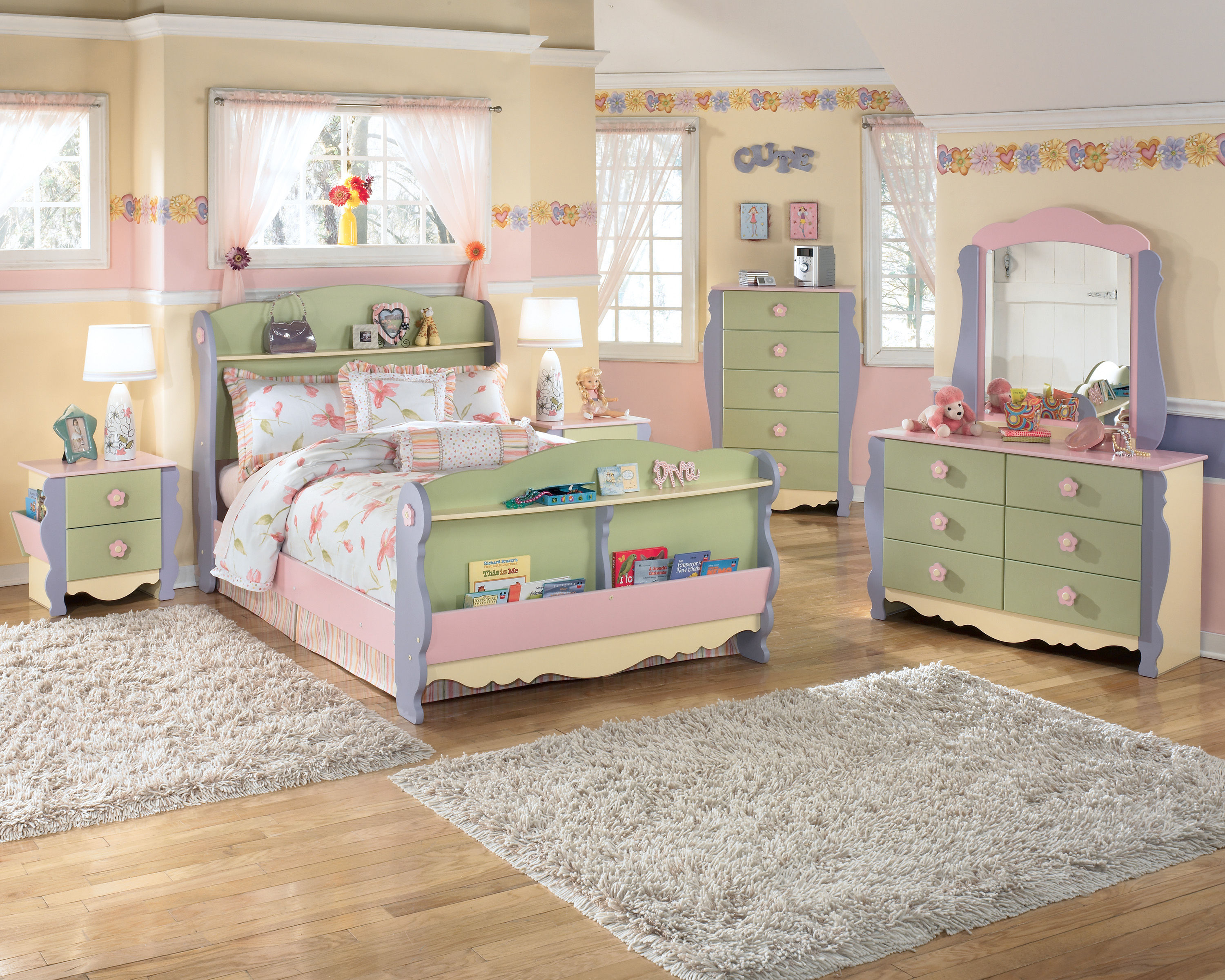 doll house 4pc kids bedroom set with twin bed. Black Bedroom Furniture Sets. Home Design Ideas