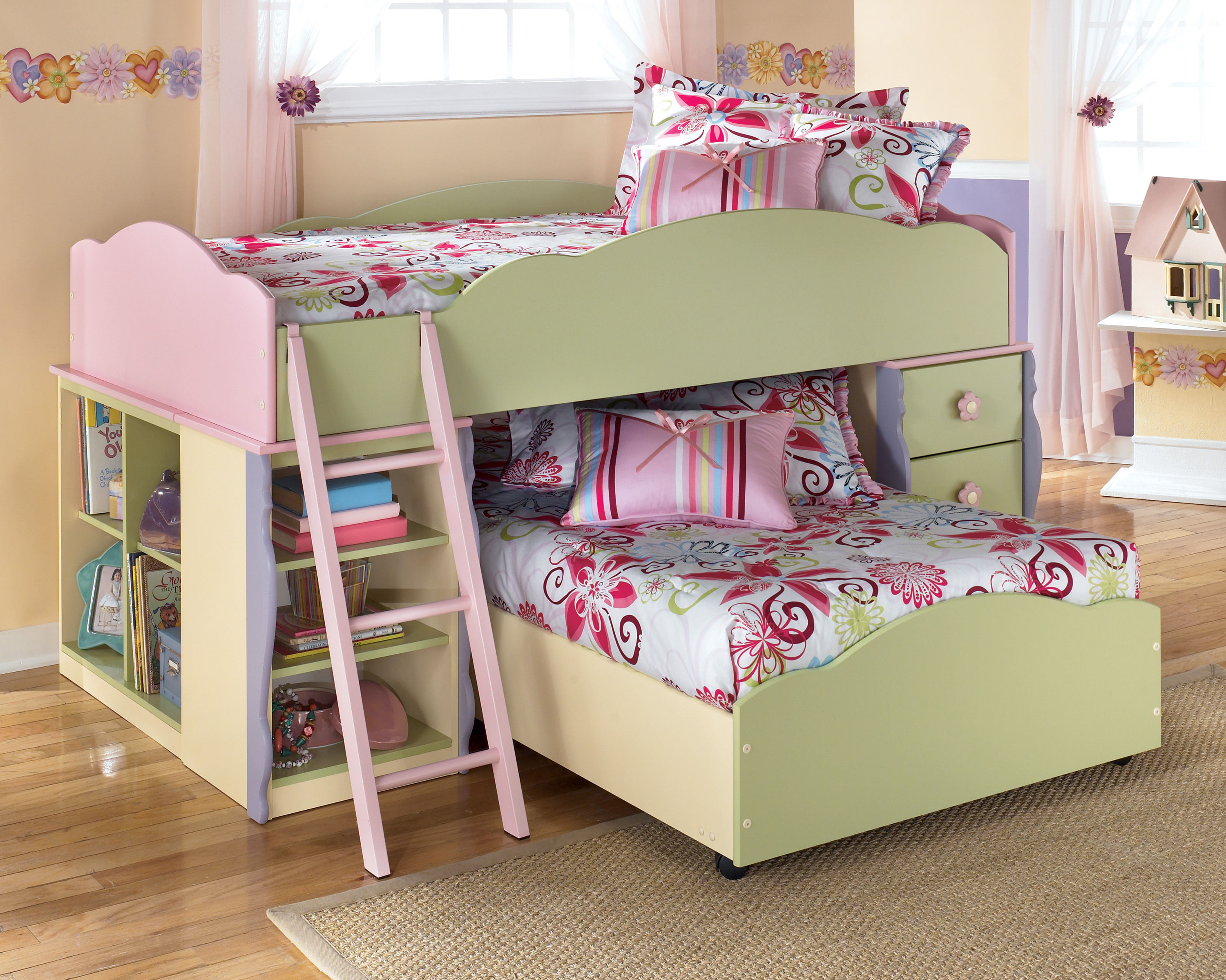 Doll House Youth Doll House Loft Bed W/Bottom Bed | The Classy Home