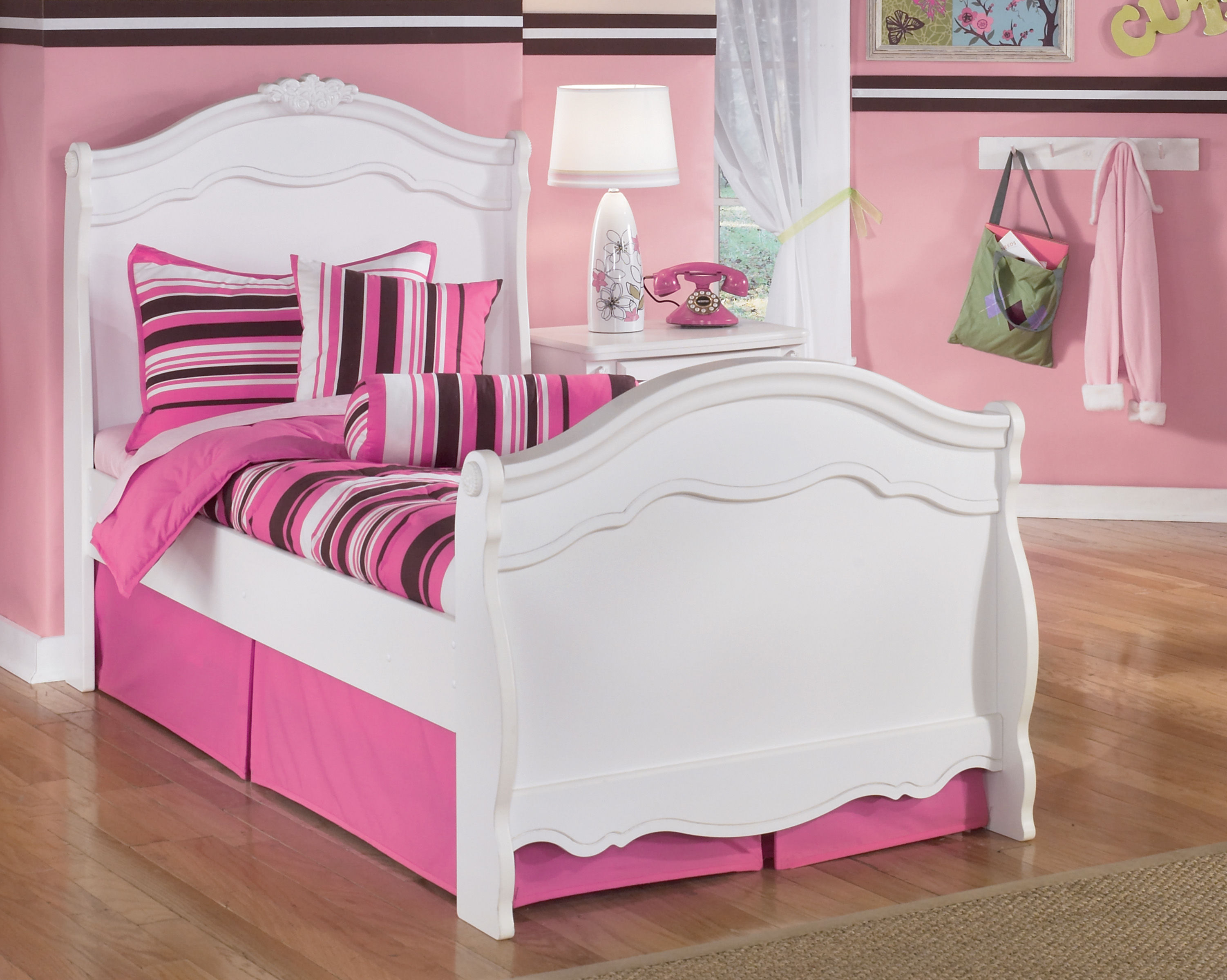 Ashley Furniture Exquisite Luminous White Sleigh Bed The Classy Home
