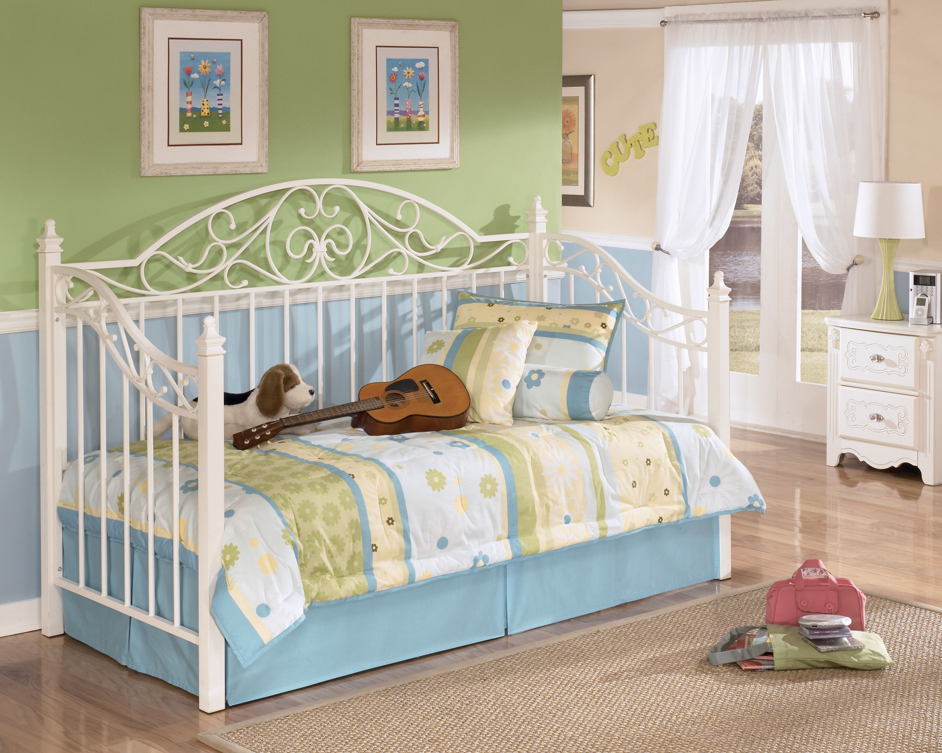 Ashley Furniture Exquisite Luminous White Metal Day Bed With Deck The Classy Home