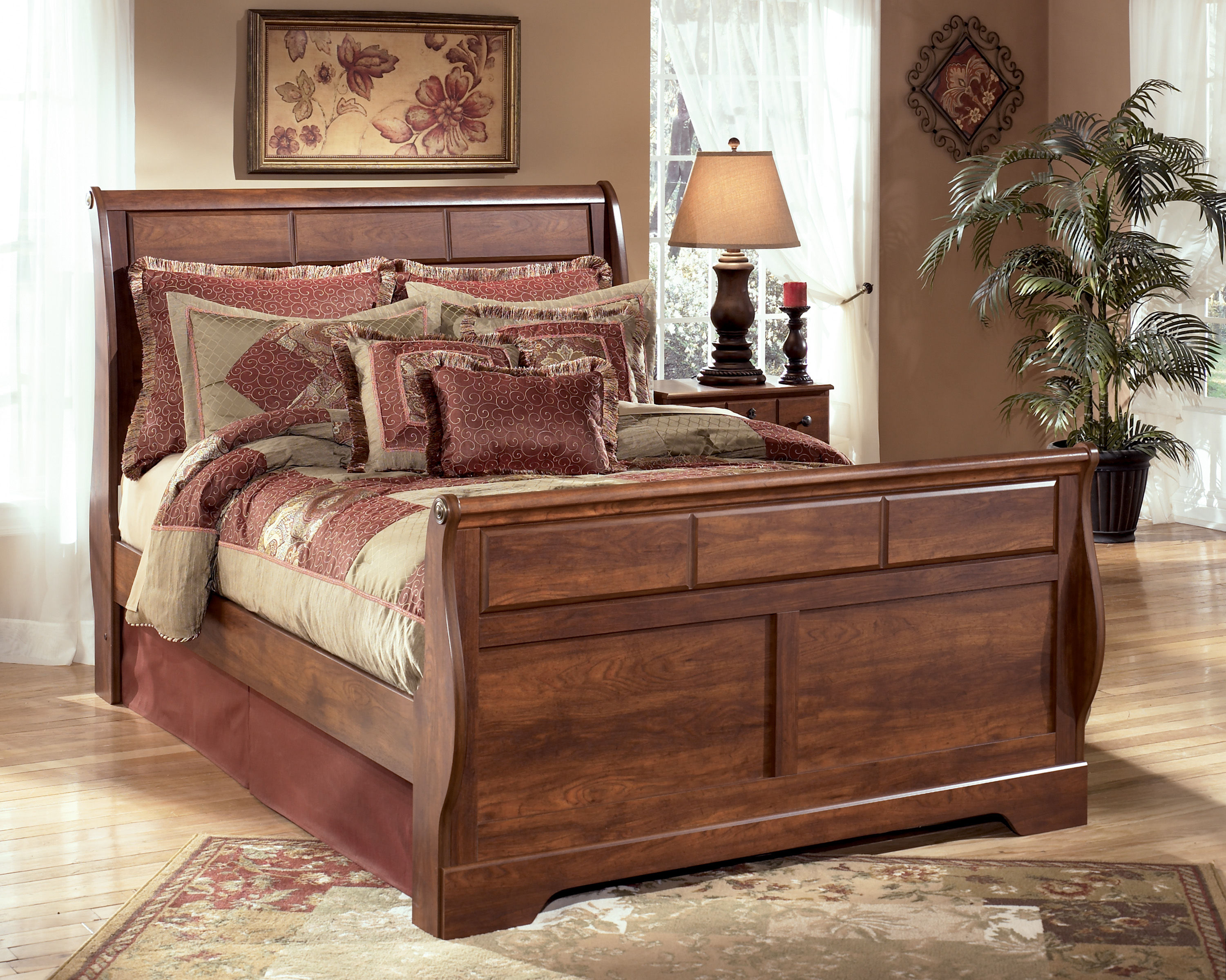 Ashley Furniture Timberline Warm Brown Queen Sleigh Bed Click To Enlarge