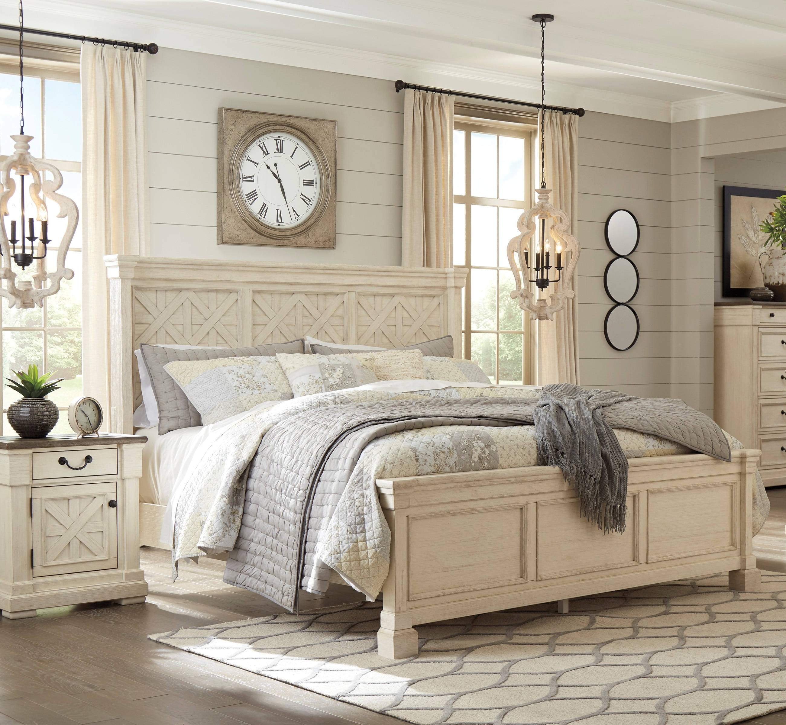 Ashley Furniture Bolanburg White 2pc Bedroom Set With King Bed