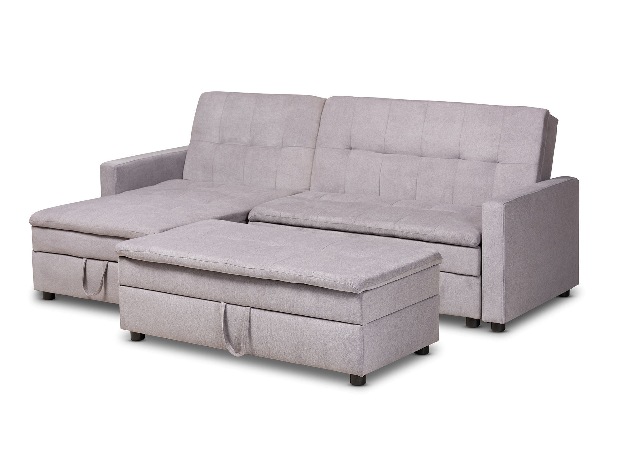 Baxton Studio Noa Light Grey Fabric Left Facing Storage Sectional Sleeper  Sofa with Ottoman