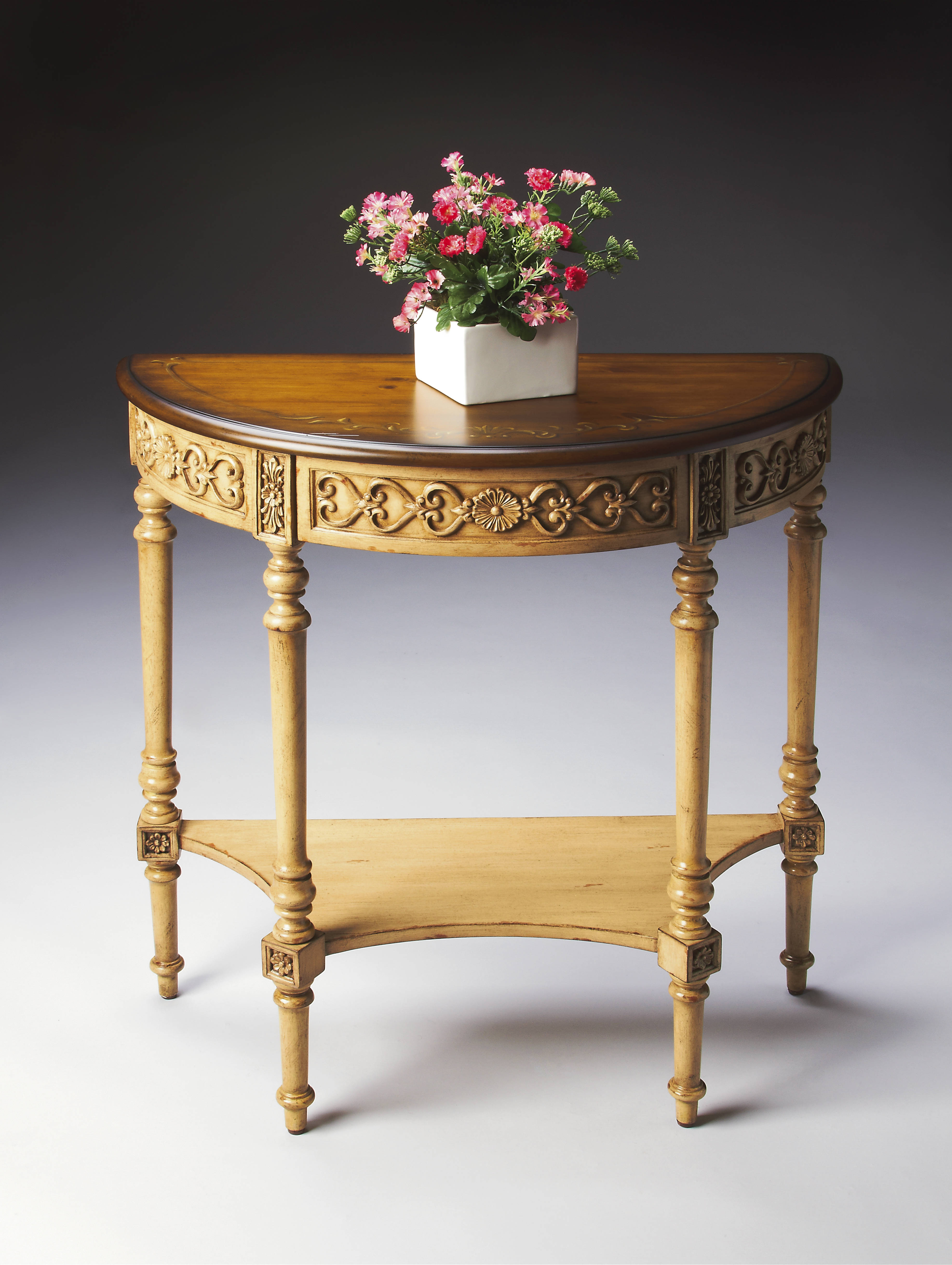 Butler Specialty Artists Originals Danelle Pine N Cream Demilune Console Table