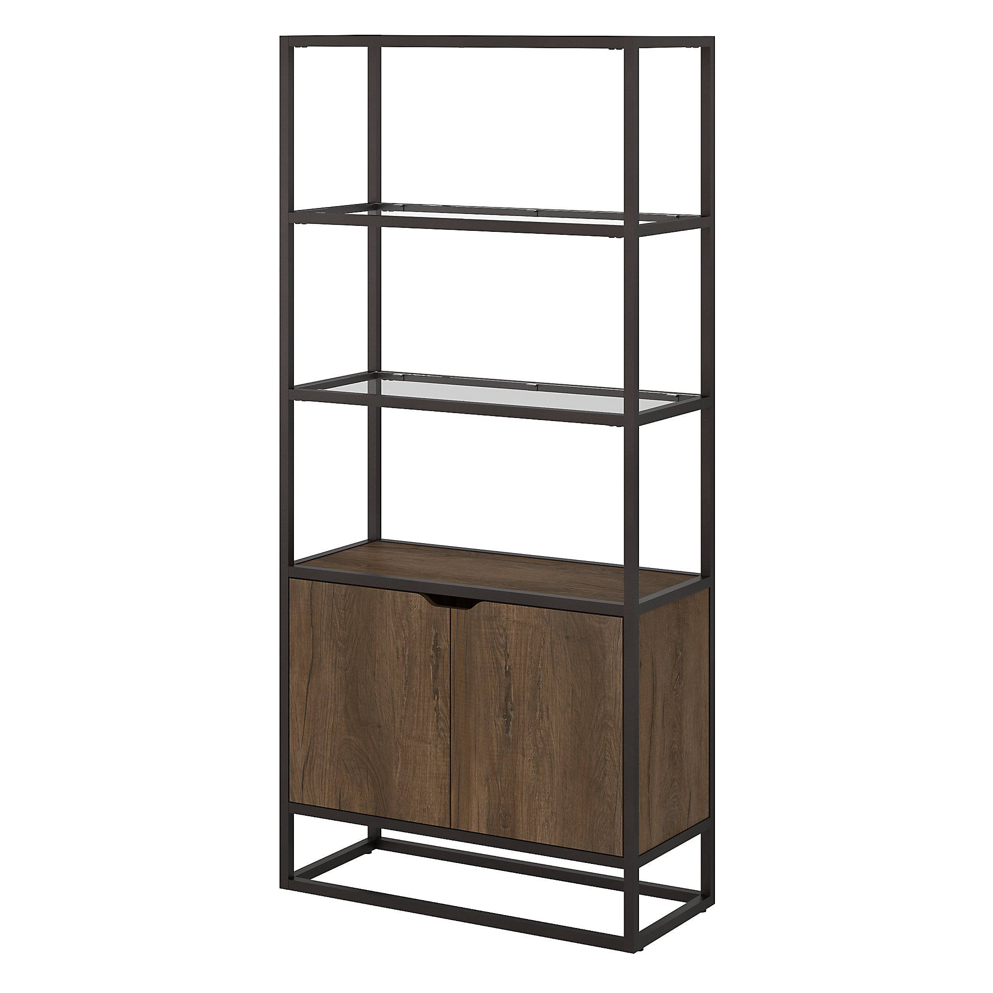 Bush Furniture Anthropology Rustic Brown Bookcase With Doors