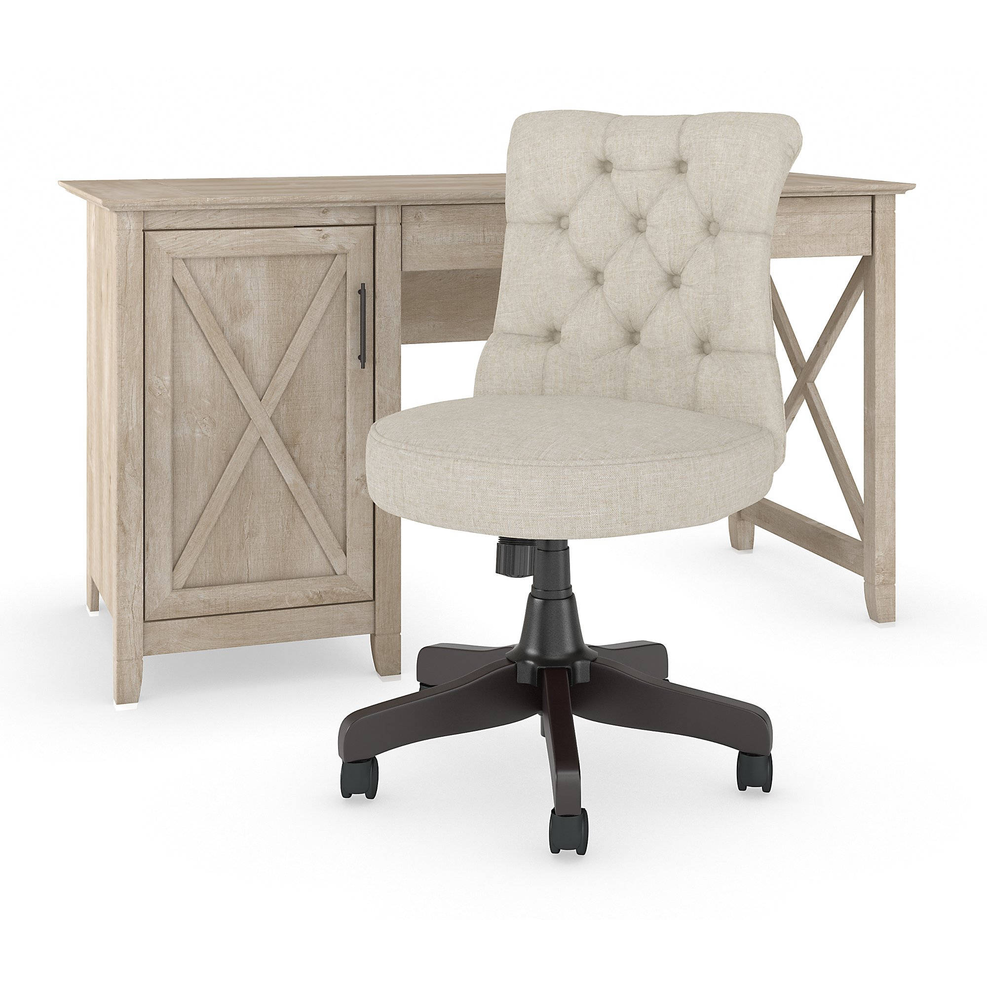 Enjoyable Bush Furniture Key West Washed Gray 2Pc Desk And Tufted Chair Set Ibusinesslaw Wood Chair Design Ideas Ibusinesslaworg