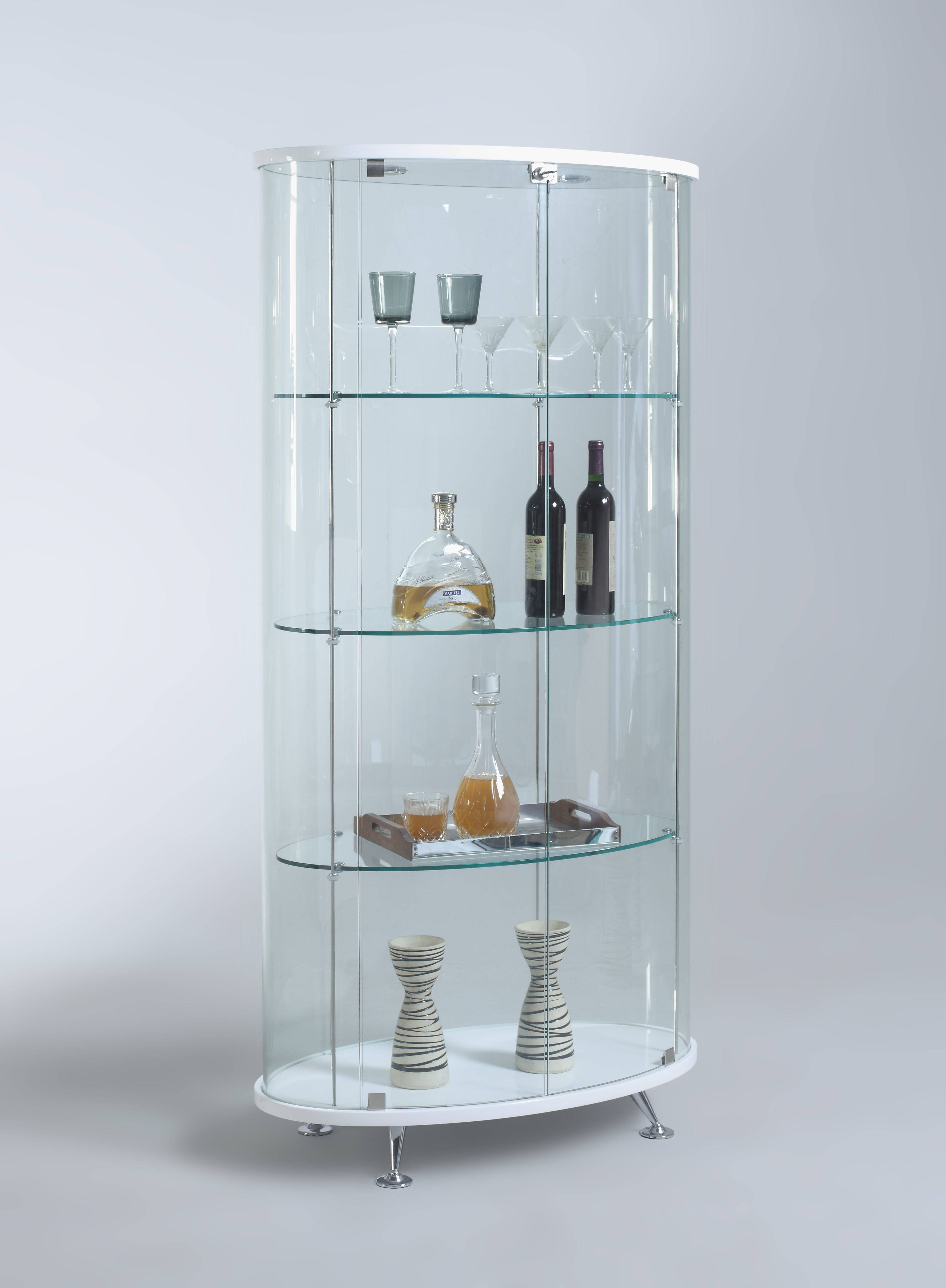 Chintaly Imports White Oval Glass Curio The Classy Home