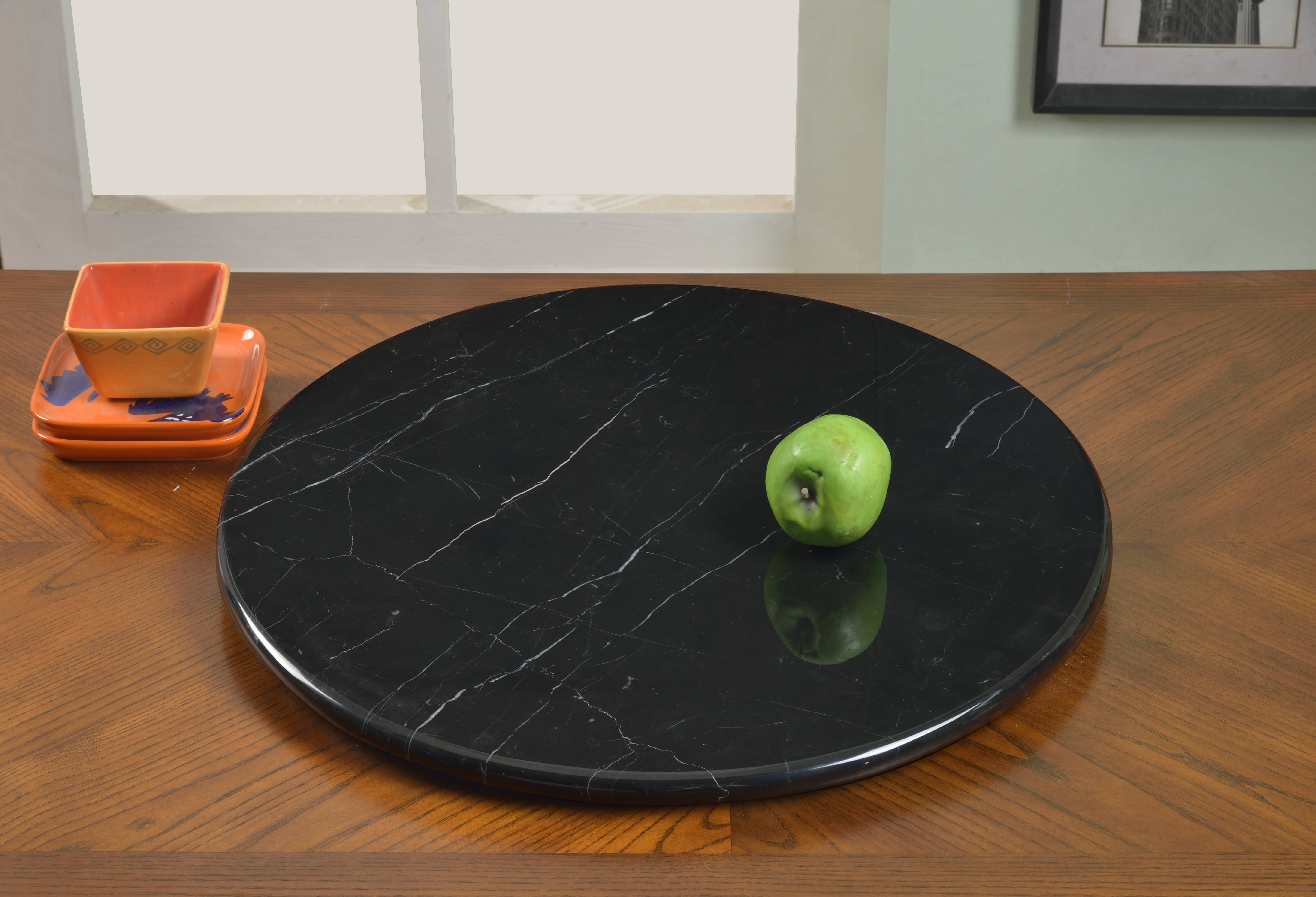Chintaly Imports Lazy Susan Black 24 Inch Rotating Tray