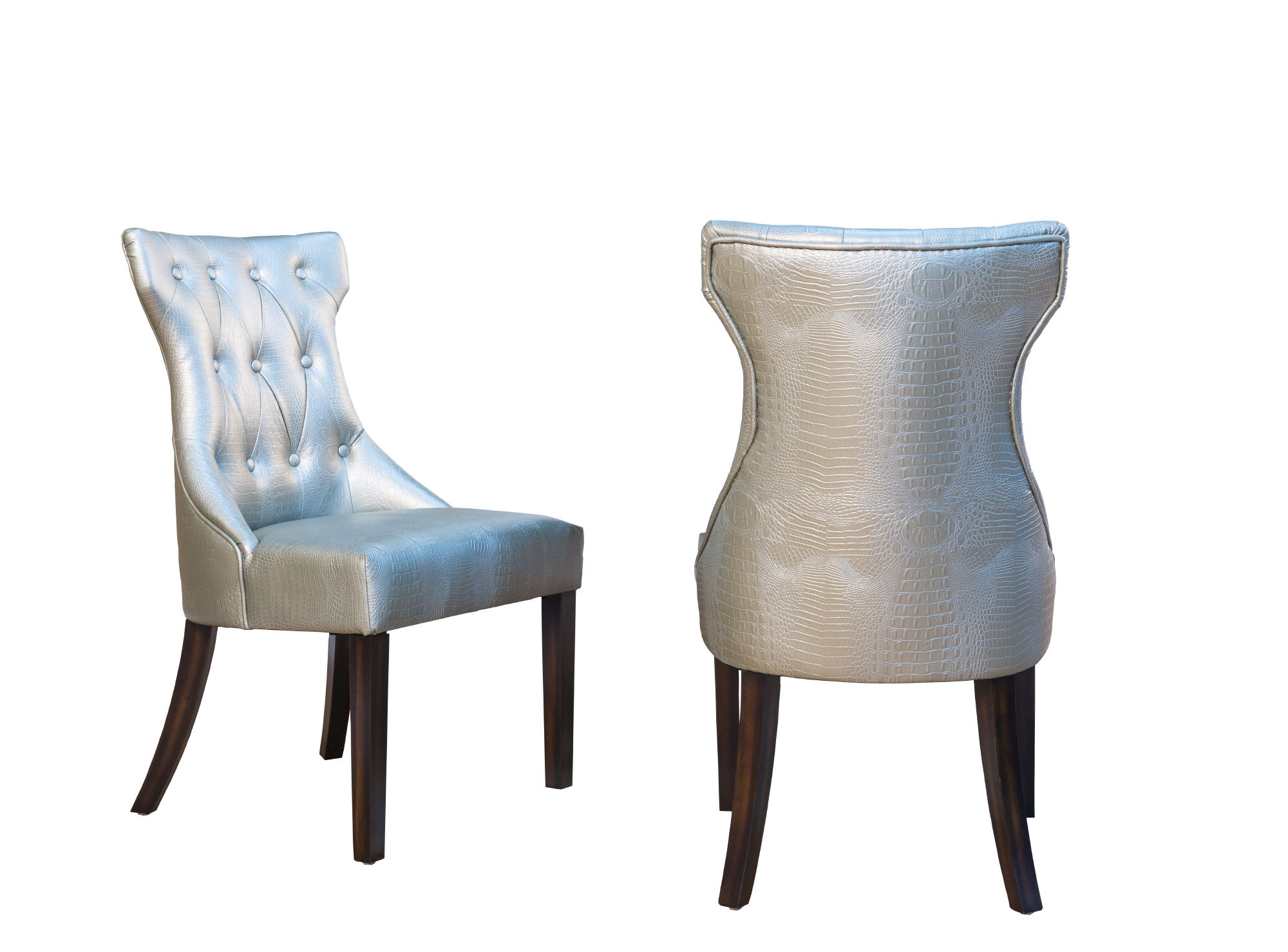 2 Chic Home Dickens Silver Pu Button Tufted Back Dining Side Chairs