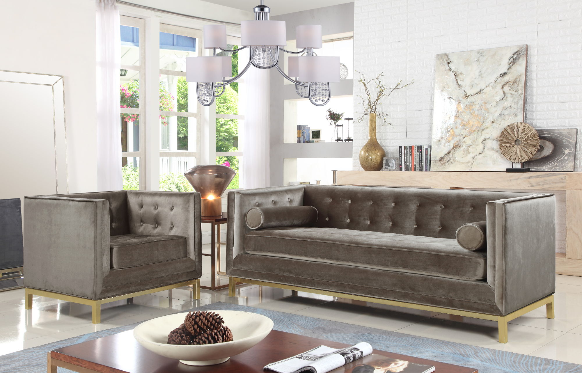Chic Home Dafna Modern Taupe Velvet Sofa and Accent Club Chair Set