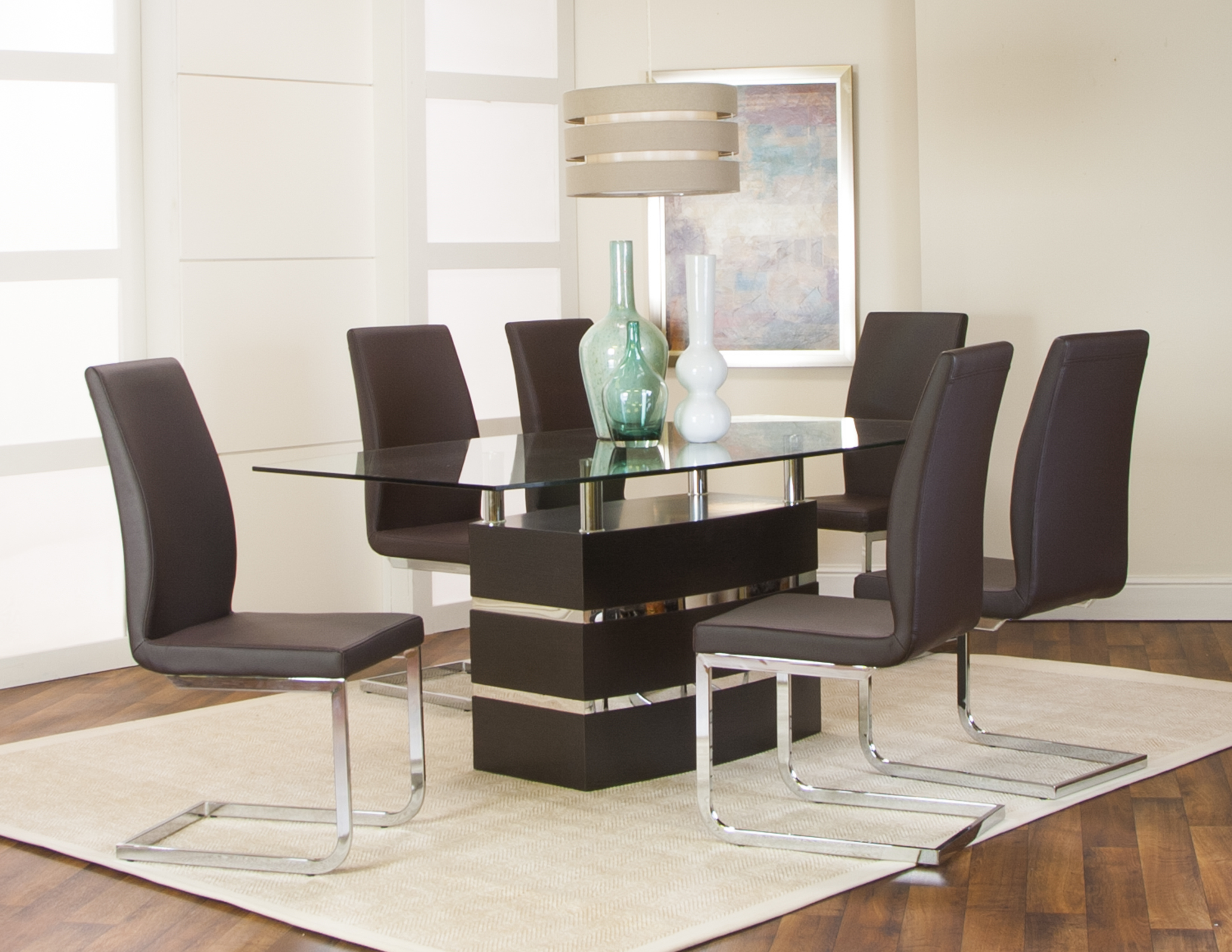 Cramco Altair Heka Wenge Wood Fabric Glass 7pc Dining Room Set