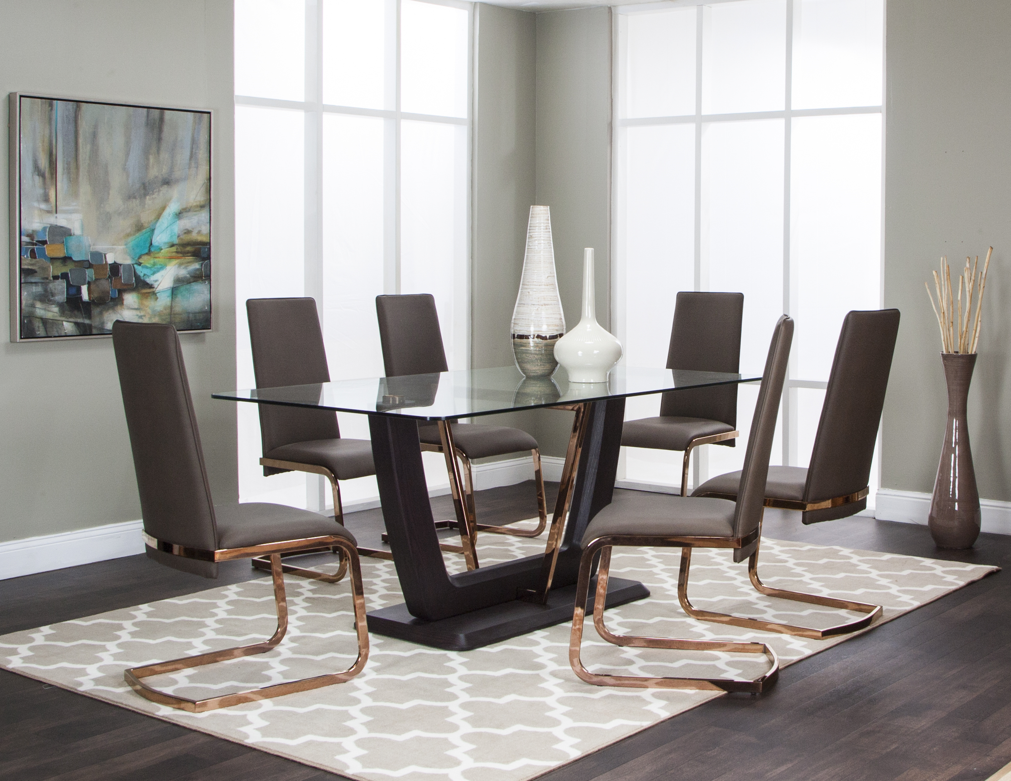 Taupe Pu 7pc Dining Room Set New