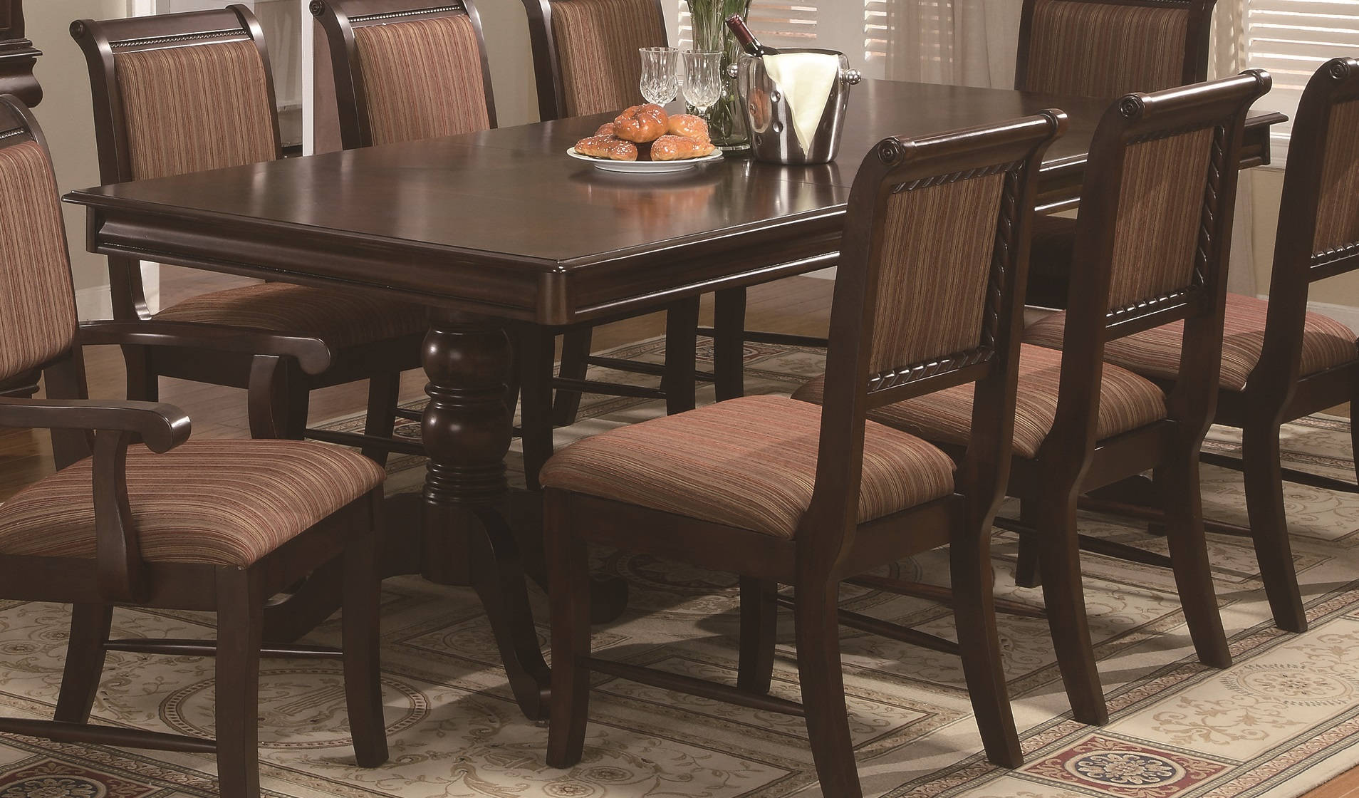 Crown Mark Merlot Brown Cherry Dining Extension Table