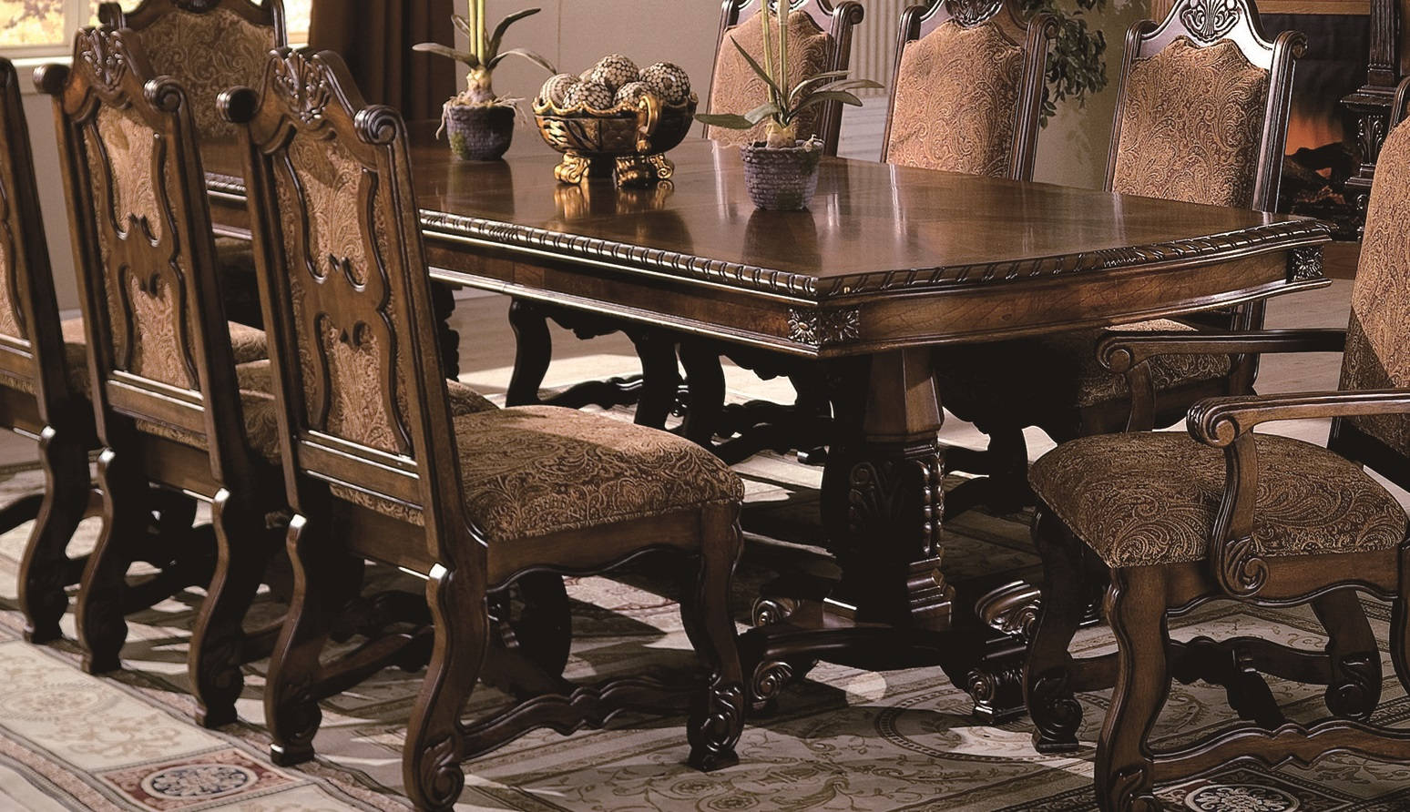 Crown Mark Neo Renaissance Warm Cherry Dining Table