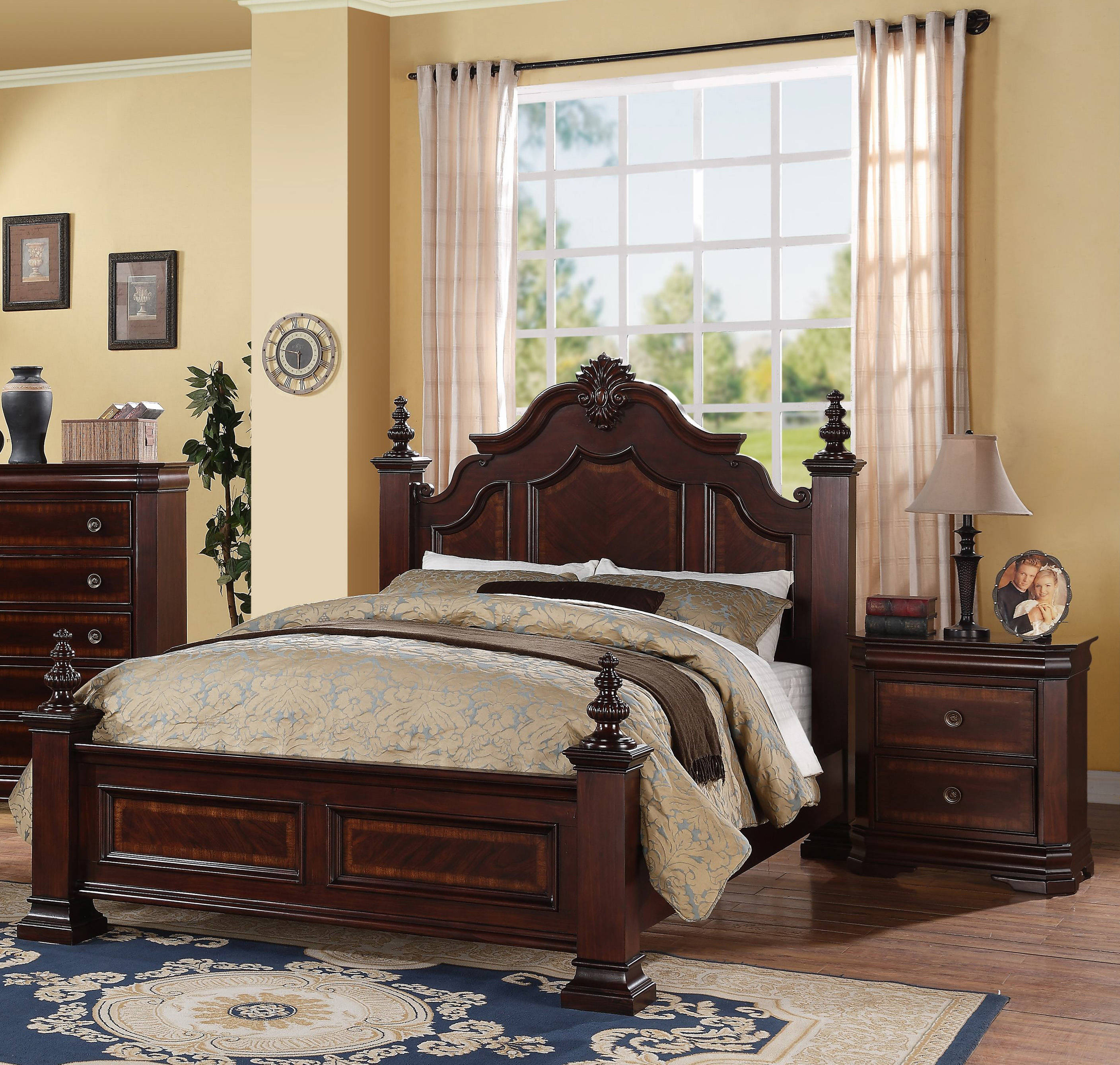 Crown Mark Charlotte Vintage Cherry 2pc Bedroom Set with Queen Bed