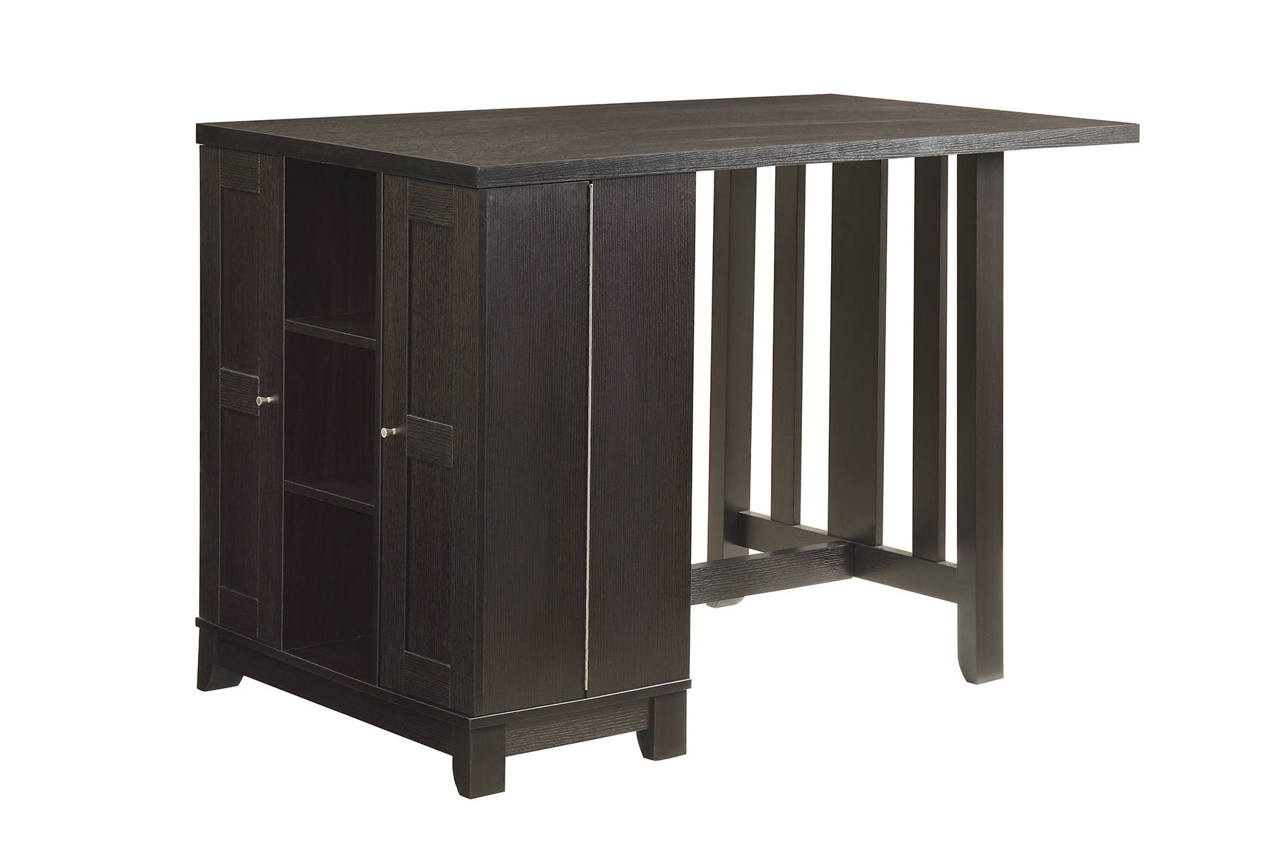 Coaster Furniture Cappuccino Black Wood Adjustable Shelves Bar Table The Classy Home