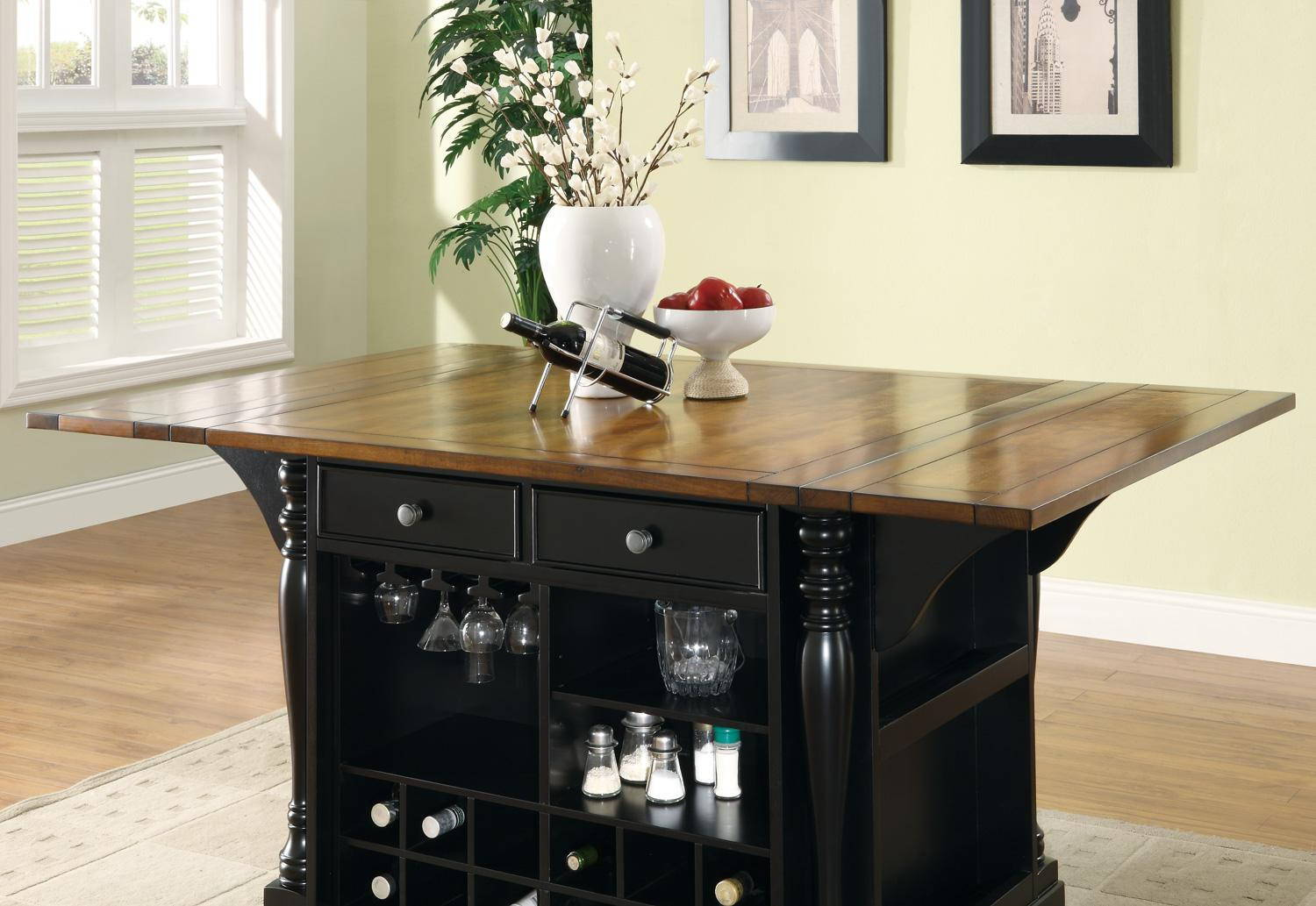 Slater Transitional Black Brown Wood Kitchen Island By Coaster