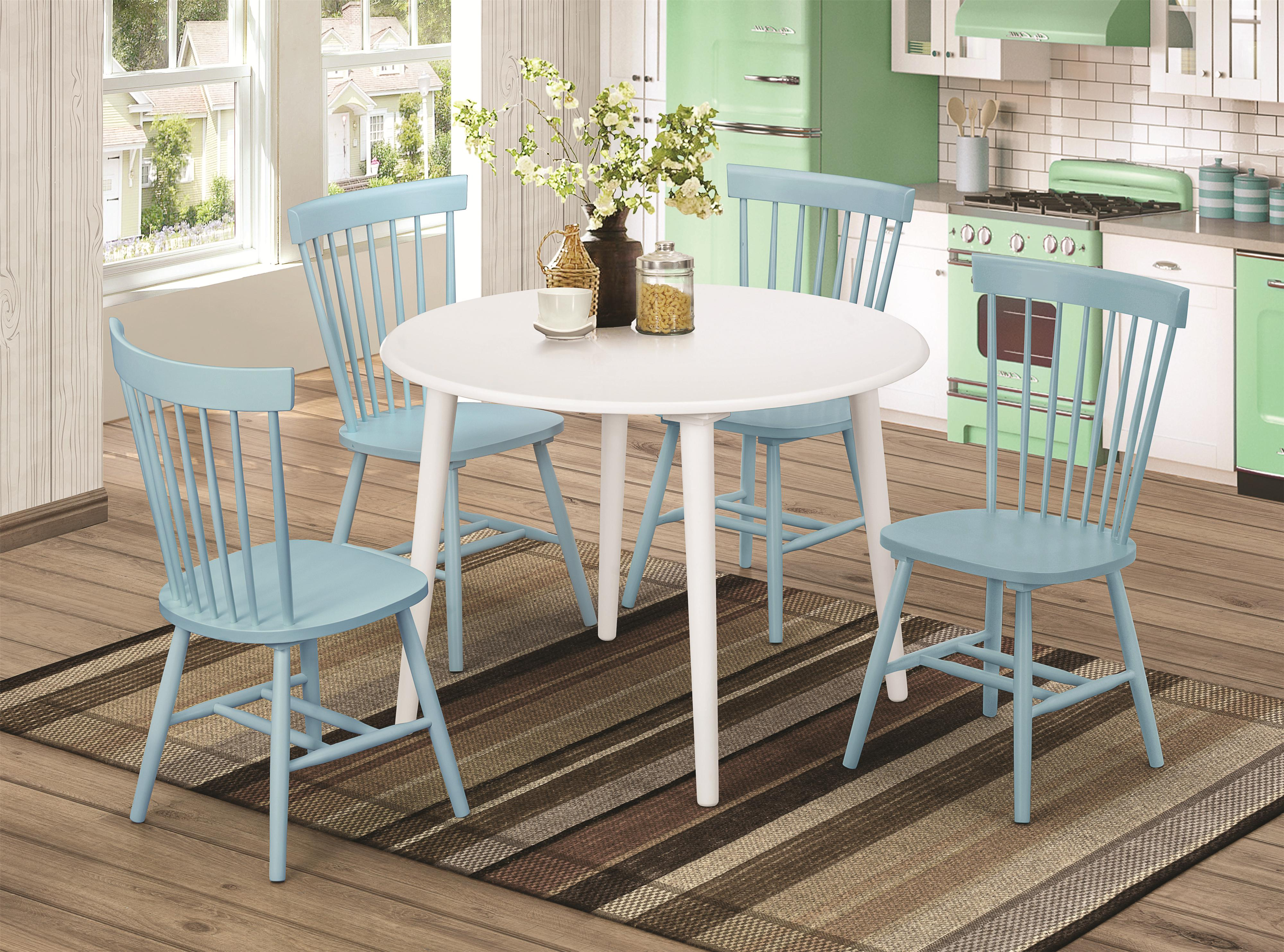 blue dining room set   Emmett Country Blue 5pc Dining Room Set w/Round Table ...