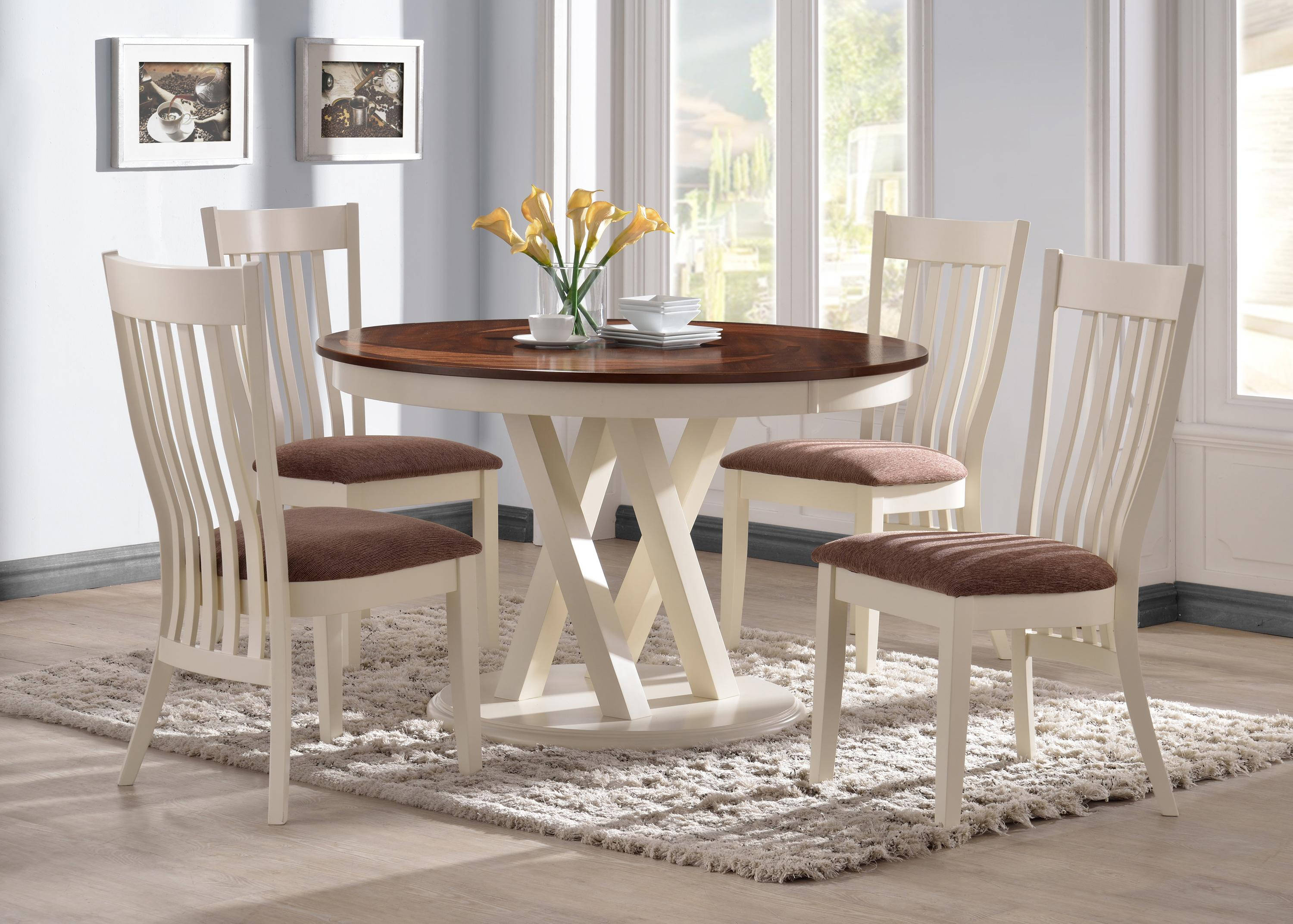 naomi country pecan buttermilk wood 5pc dining room set