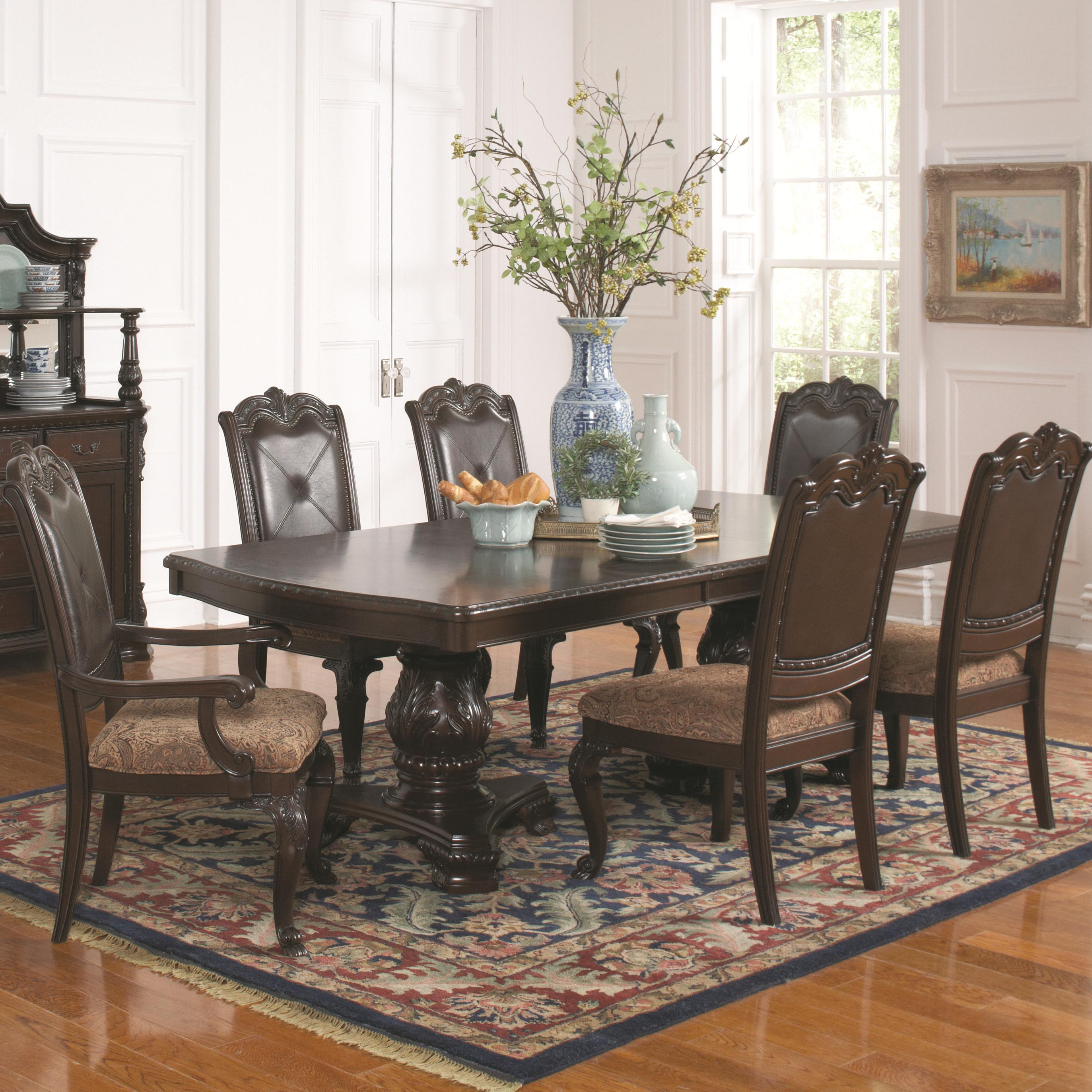 Valentina Traditional Brown Red Wood 7pc Dining Room Set