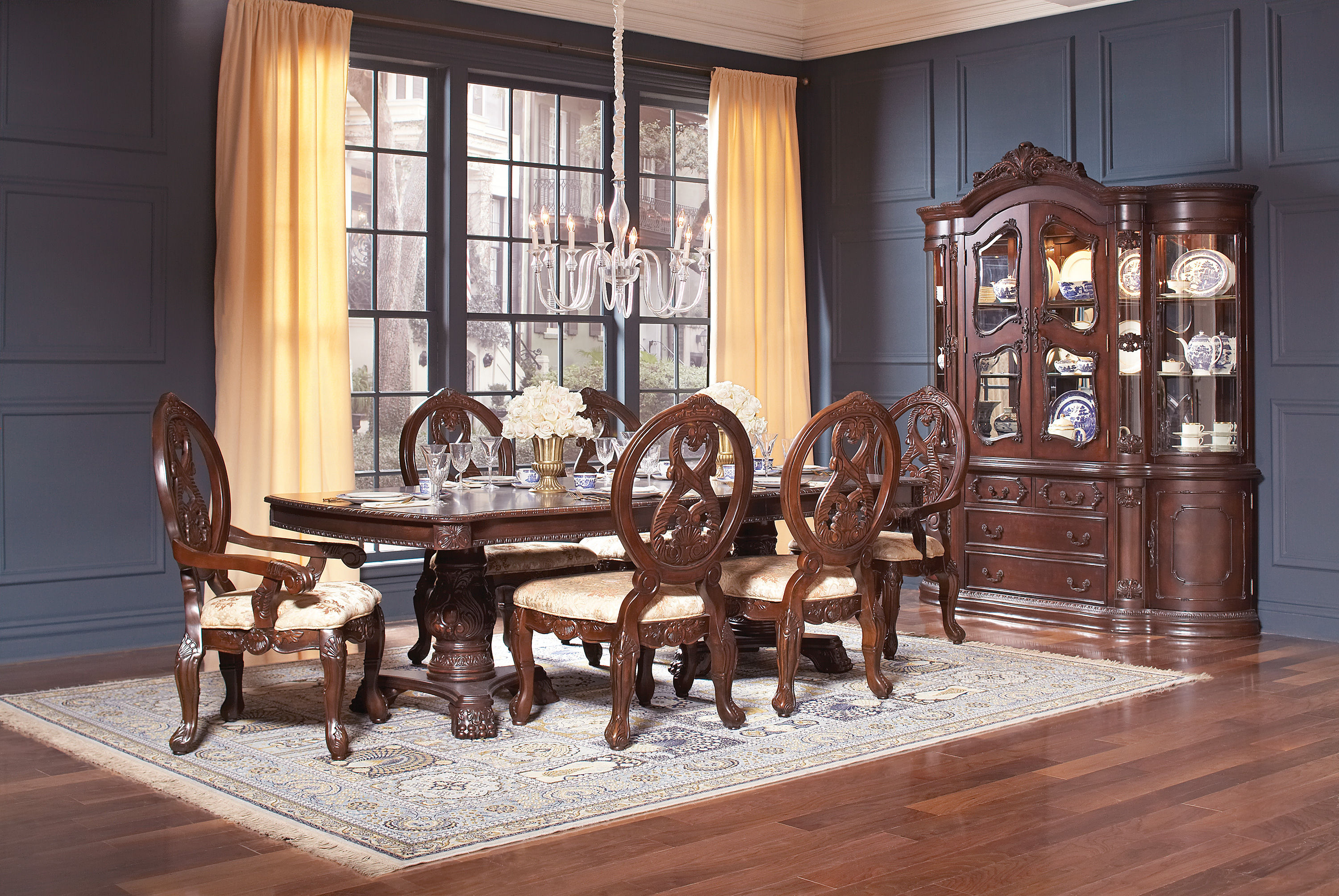 Jacques Classic Dark Cherry Wood Dining Room Set Kitchen